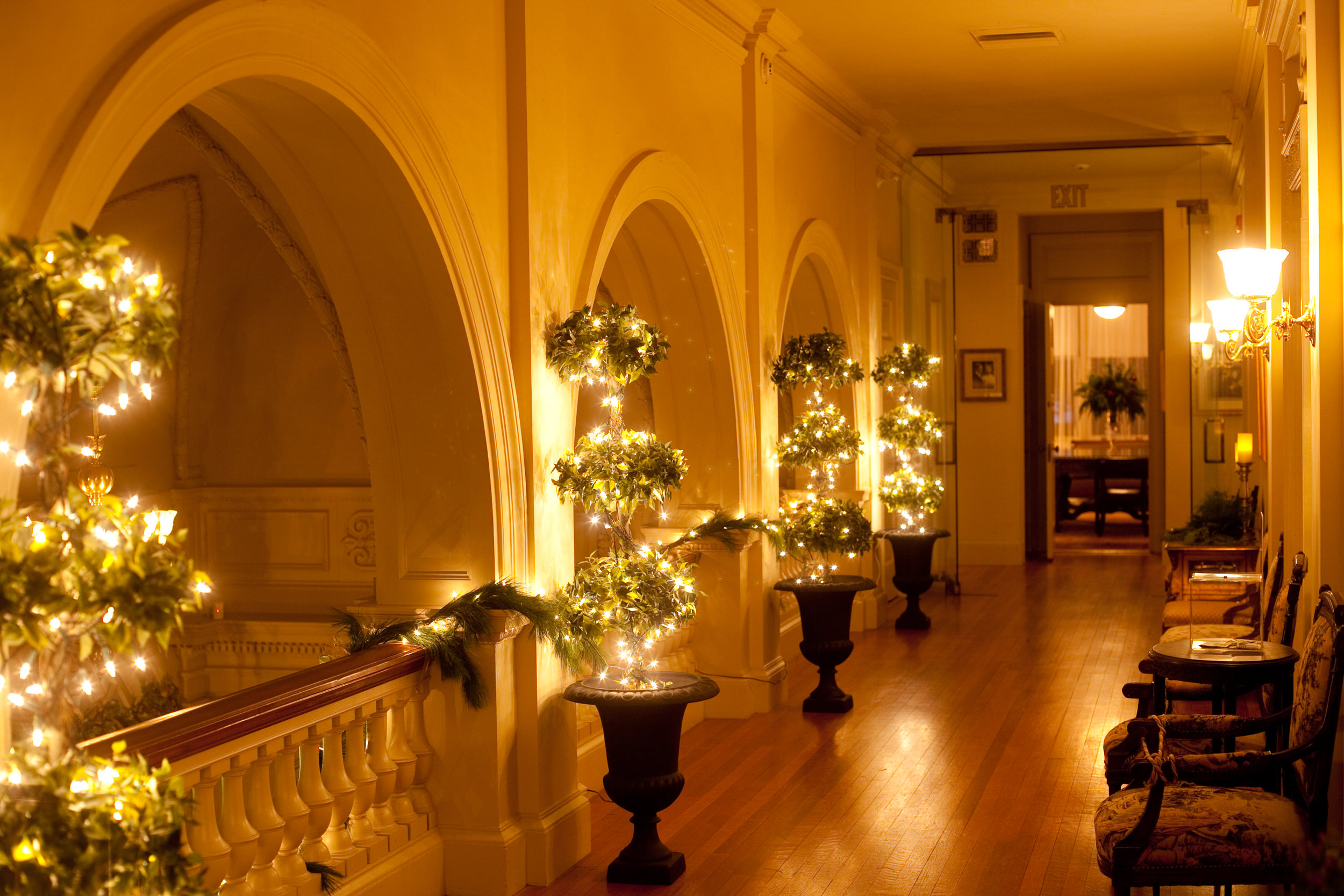 Cairnwood Estate's upper hallway at Christmastime
