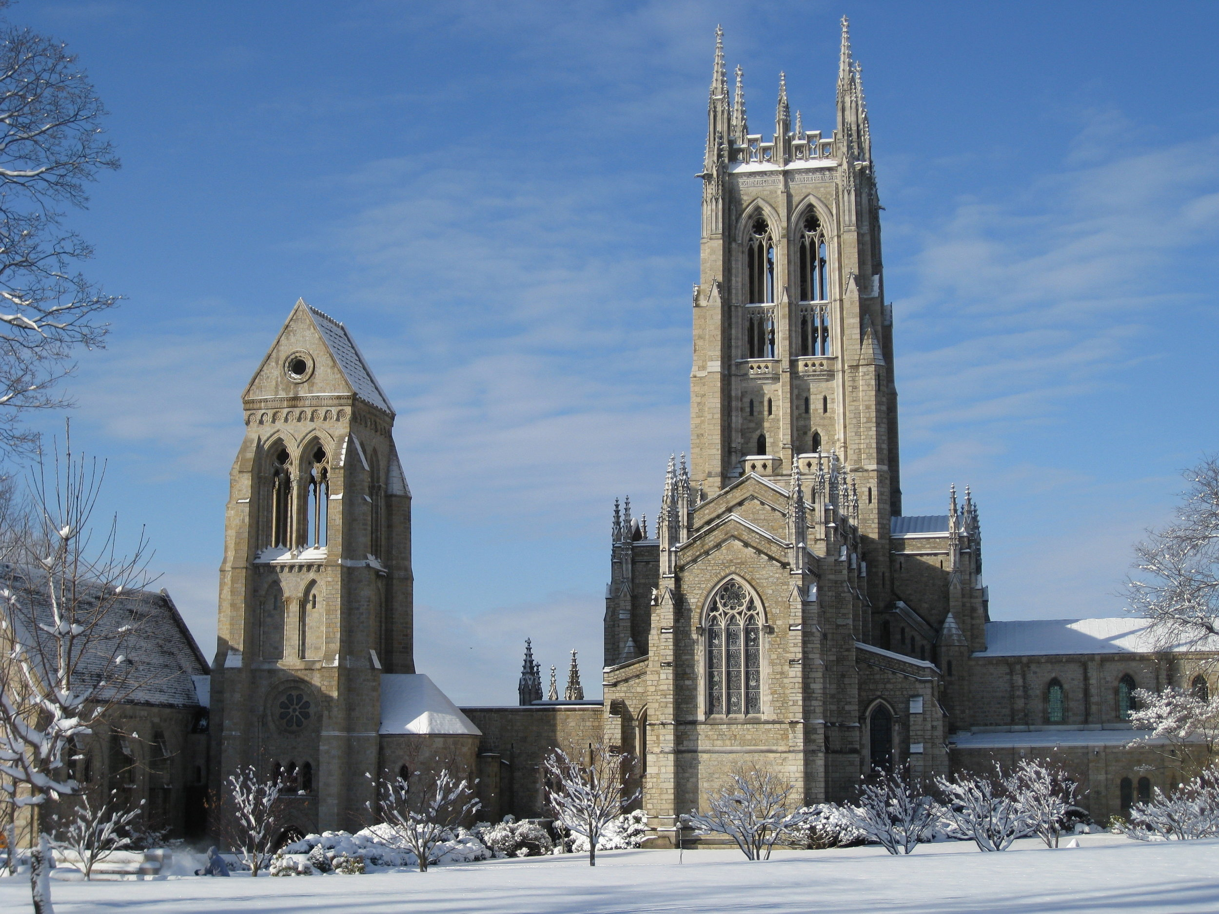 Bryn Athyn Cathedral in the snow