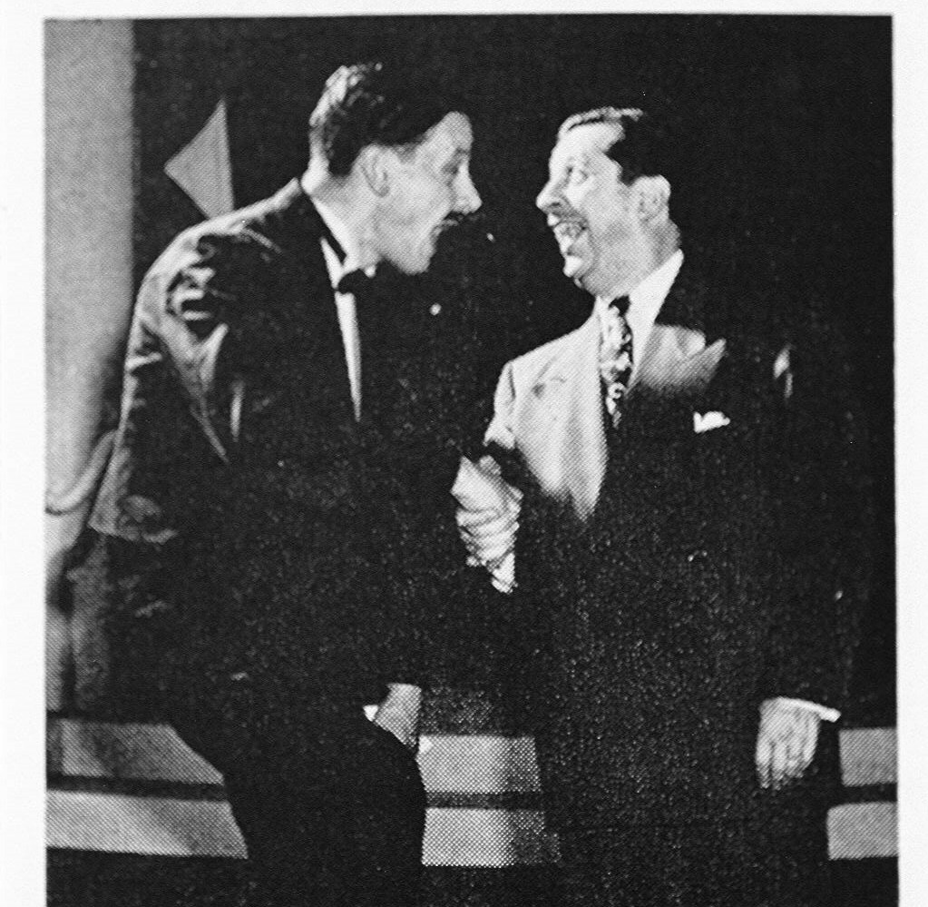 Art Carney (left) with Morey Amsterdam on the Morey Amsterdam Show, 1949.