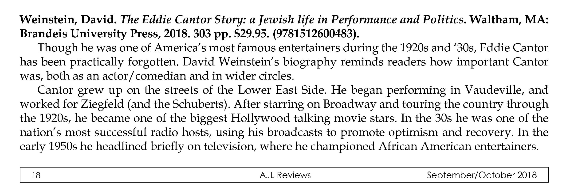Book review, AJL Reviews, Sept/Oct 2018, p.1