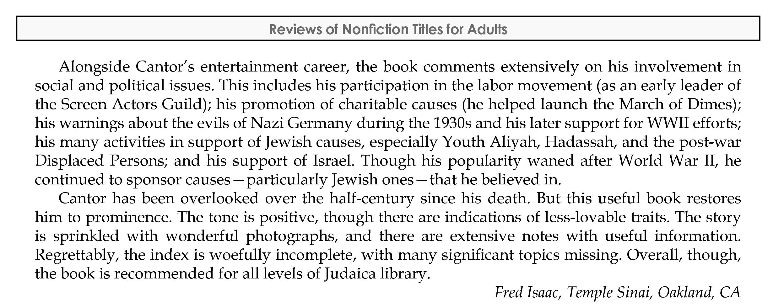 Book review, AJL Reviews, Sept/Oct 2018, p.2