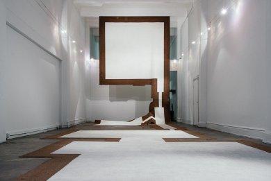 Carmen Argote, 720 Sq. Ft. Household Mutations, Part B  , 2010. Carpet, paint, and Velcro (carpet from the artist's childhood home)
