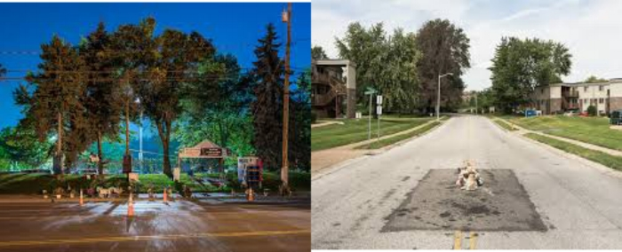"""Kris Graves, The murder of Philando Castile , Falcon Heights, MN, 2016; The murder of Michael Brown , Ferguson, MO, 2016 both from the series """"A Bleak Reality"""""""