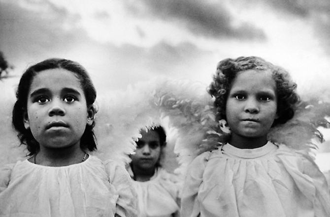 Sebastiao Salgado,  Three Communion Girls Juazeira do Norte Brazil  1981. ©Sebastiao Salgado/Amazonas Images. Courtesy Peter Fetterman.