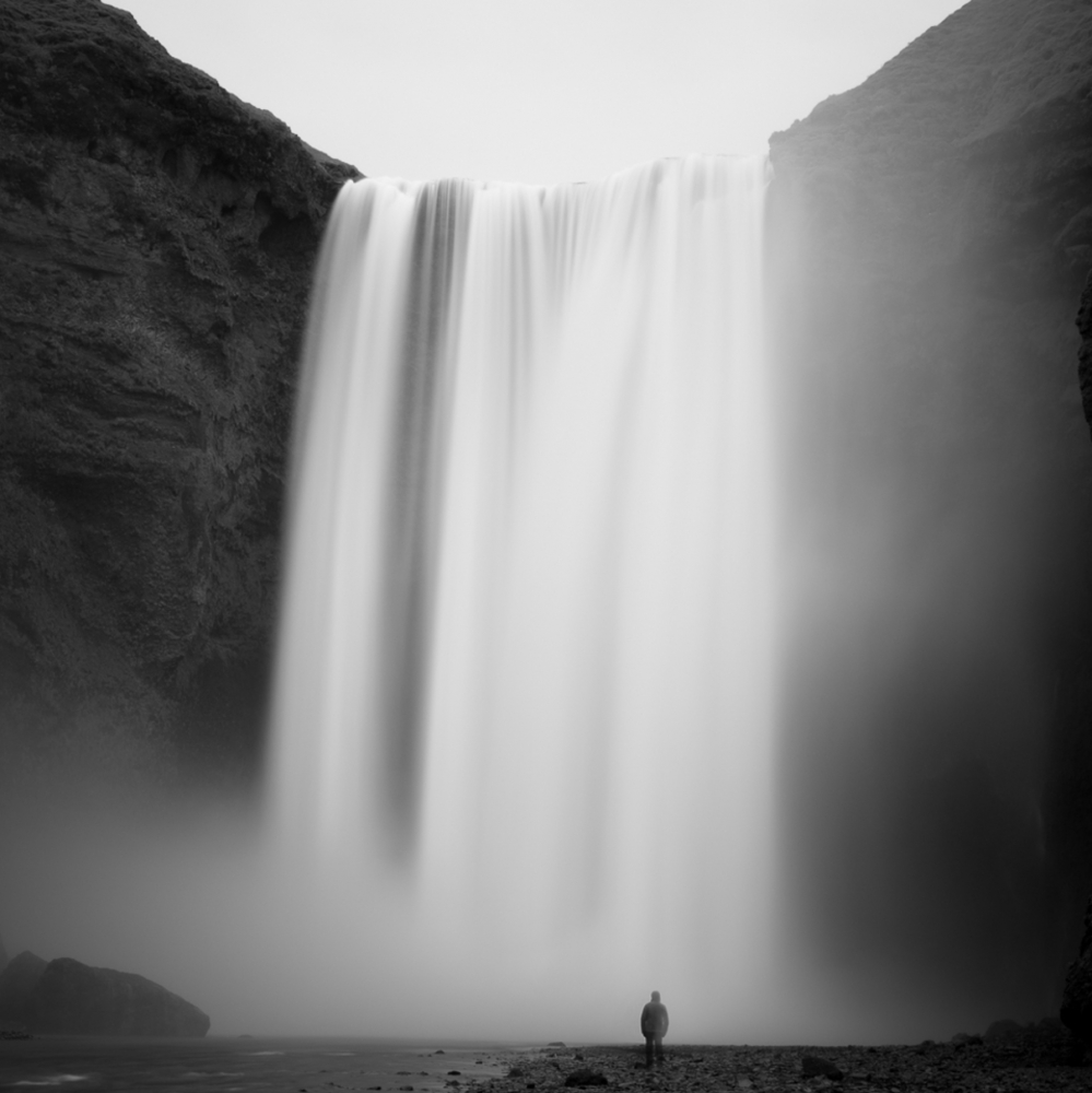 Jeffrey Conley,  Cascade and Figure, Iceland  2017. ©Jeff Conley. Courtesy Peter Fetterman Gallery.