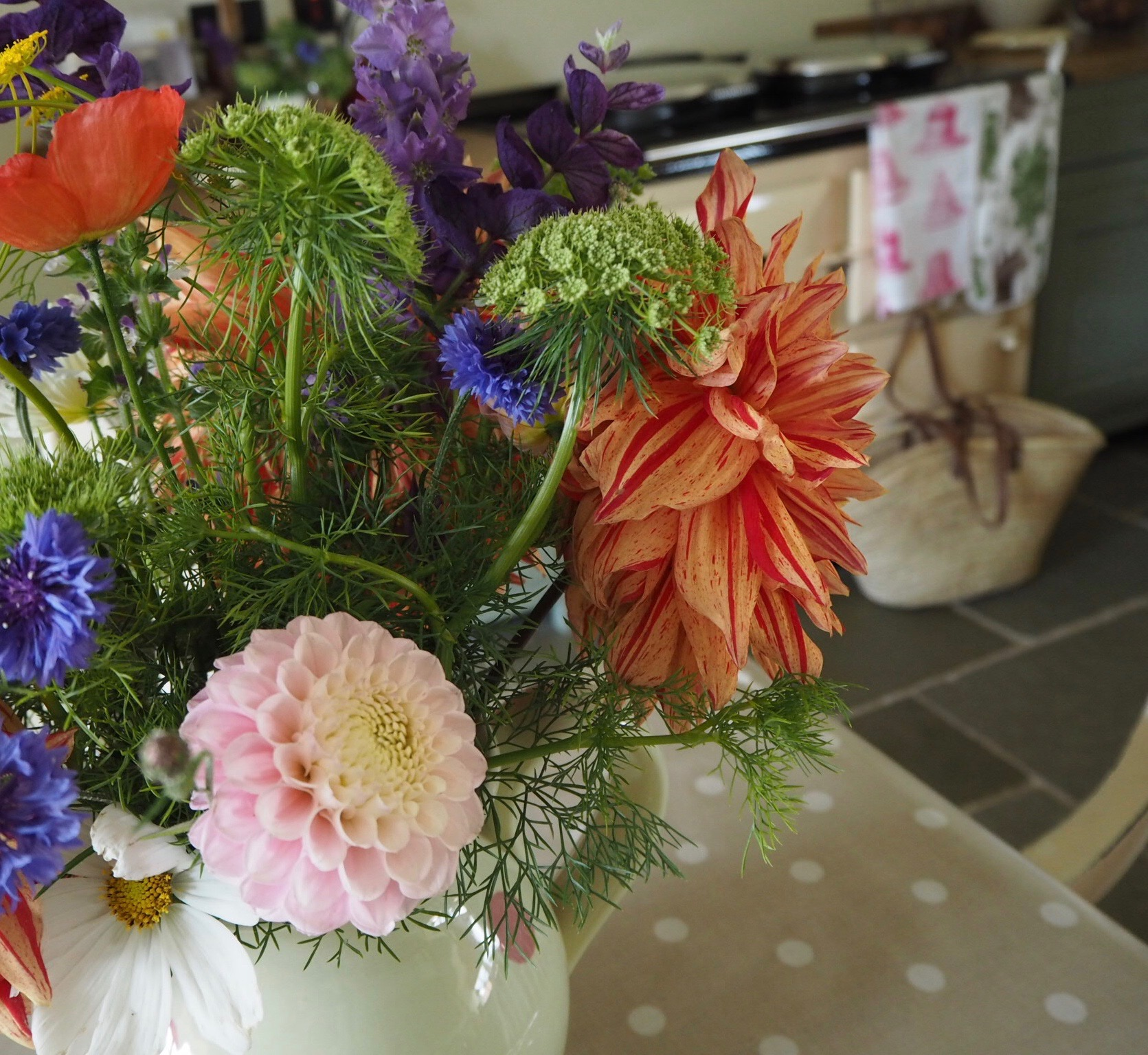 My first ever dahlias in pride of place on the kitchen table.