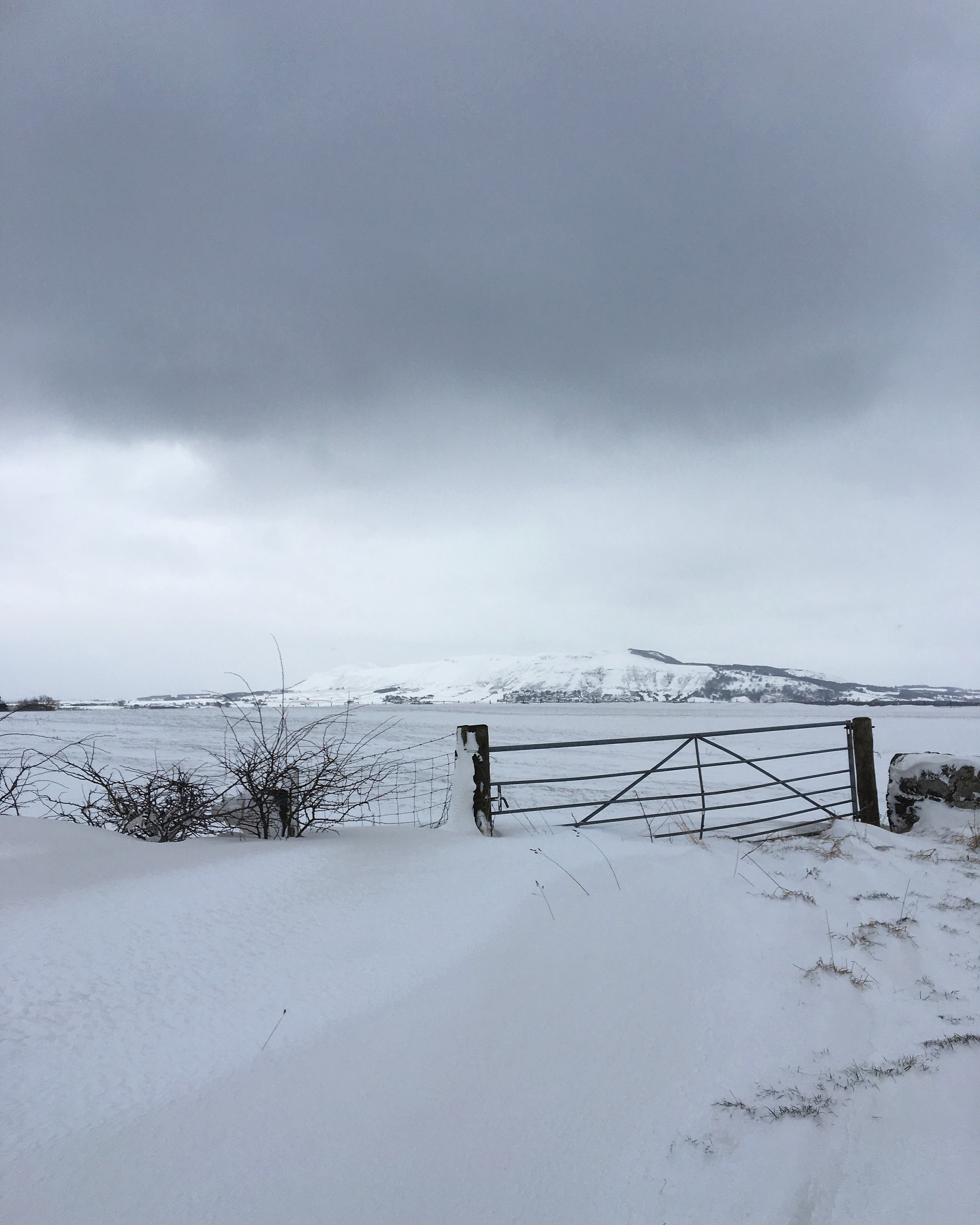 The Beast from the East drifting across the open fields and down to the loch.