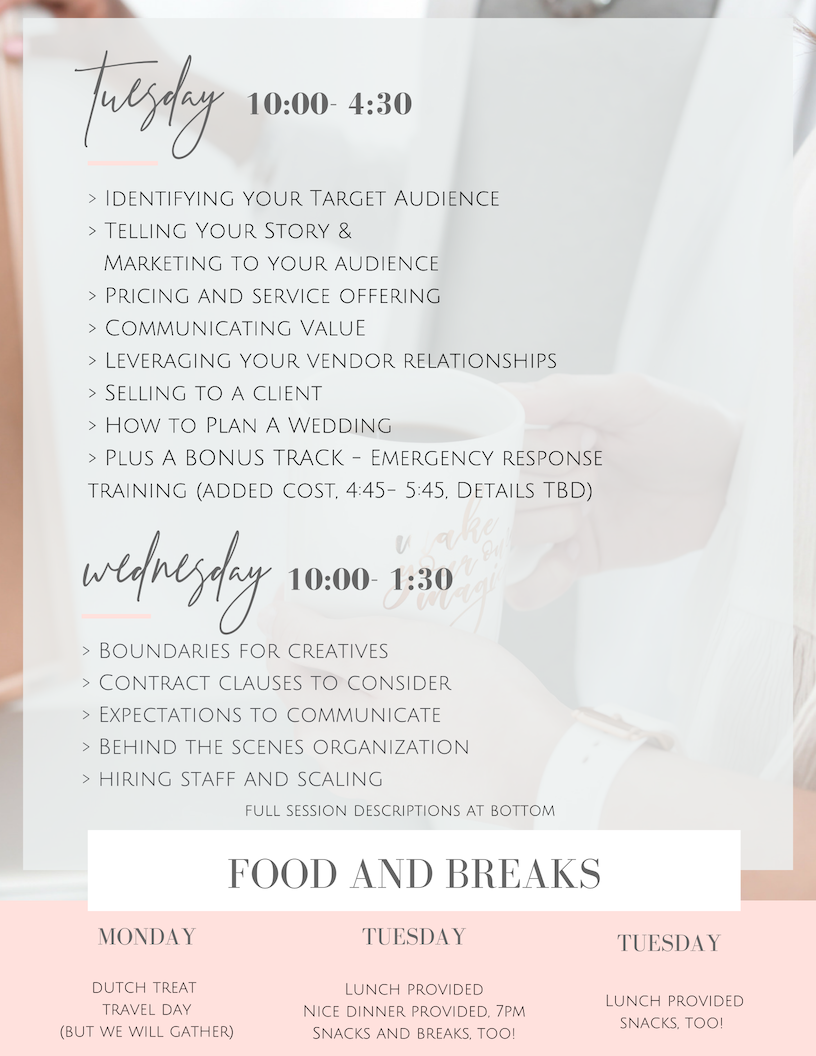 workshop for wedding planners