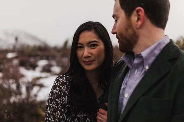 Cold feet and a few snow flurries 🖤 • • • • #oregonweddingphotographer #bendweddingphotographer #oregonengagement #portraits