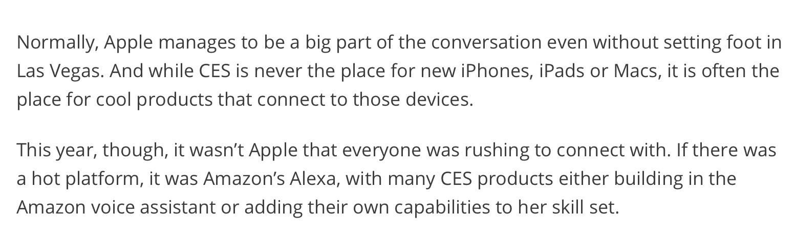 Recode,  Apple was absent from CES, in a worse-than-usual way .
