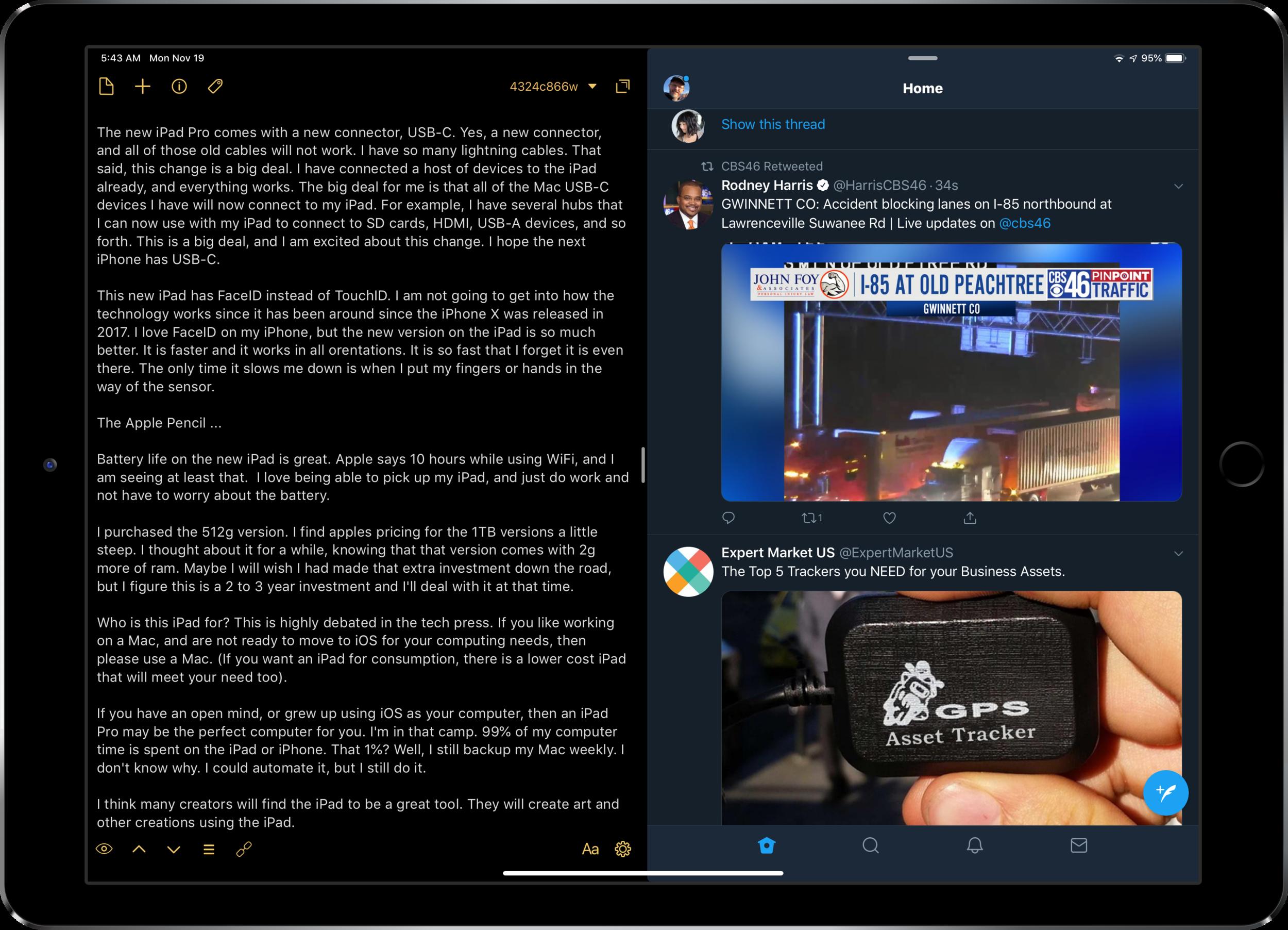 "Split Screen on the 12.9"" iPad Pro"