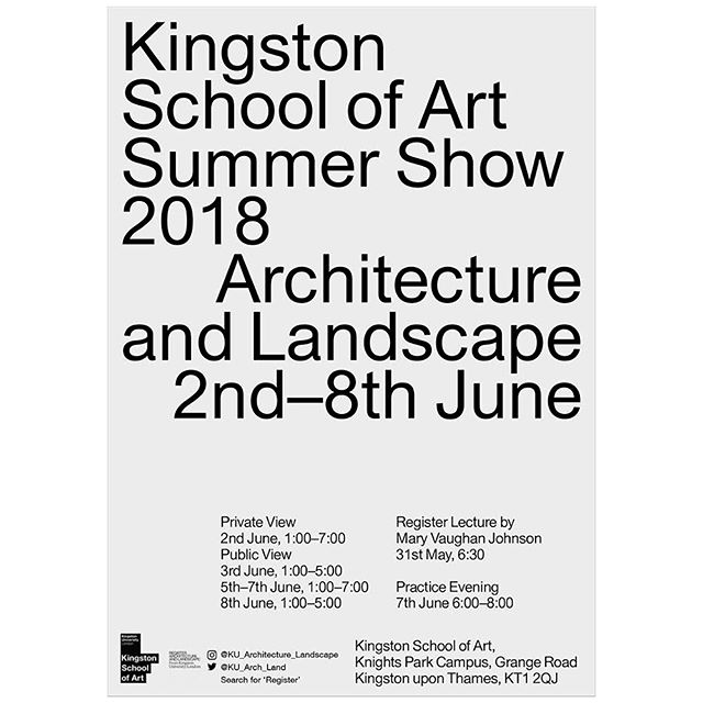 06/18 Kingston University School of Art Architecture and Landscape Summer Show is open 2-8 June. @ku_archland Work by Unit 7: Dan Bulgen, Claire Dimond, Vivian Goncalves,  Laura Griffiths, Ryan Huxford, Maria I Nunes De Matos,  Pascal Wagner, Ben Stripe. #mathesonwhiteley #kingstonschoolofart #kingstonuniversity