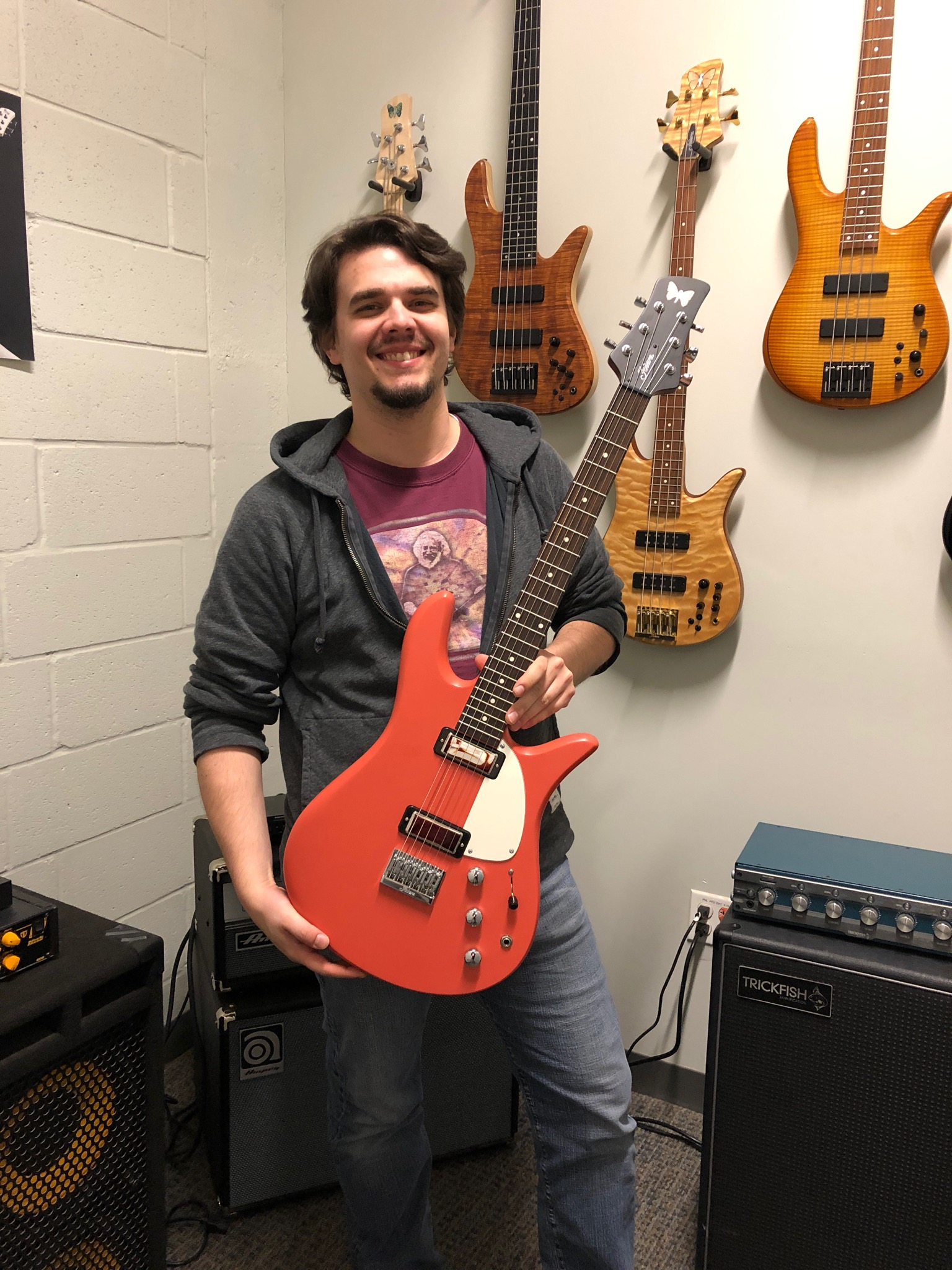 Yours truly with the newest Monarch Guitar prototype in Tahitian Coral with a parchment pickguard. Currently, the guitar has Fodera/Fralin BigSingle pickups.