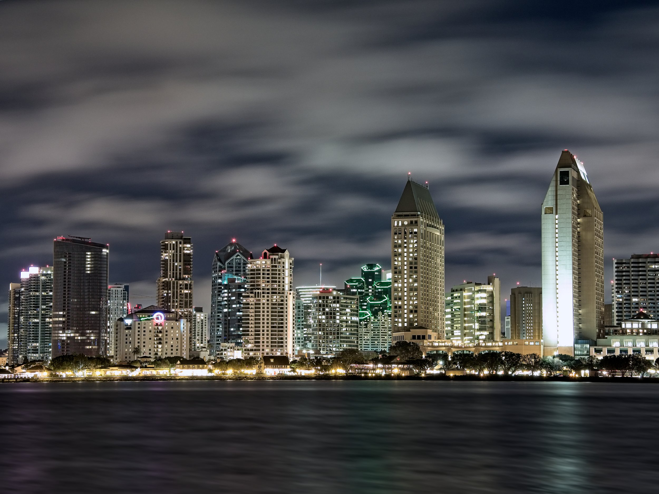 Long exposure of the San Diego skyline from Coronado Island