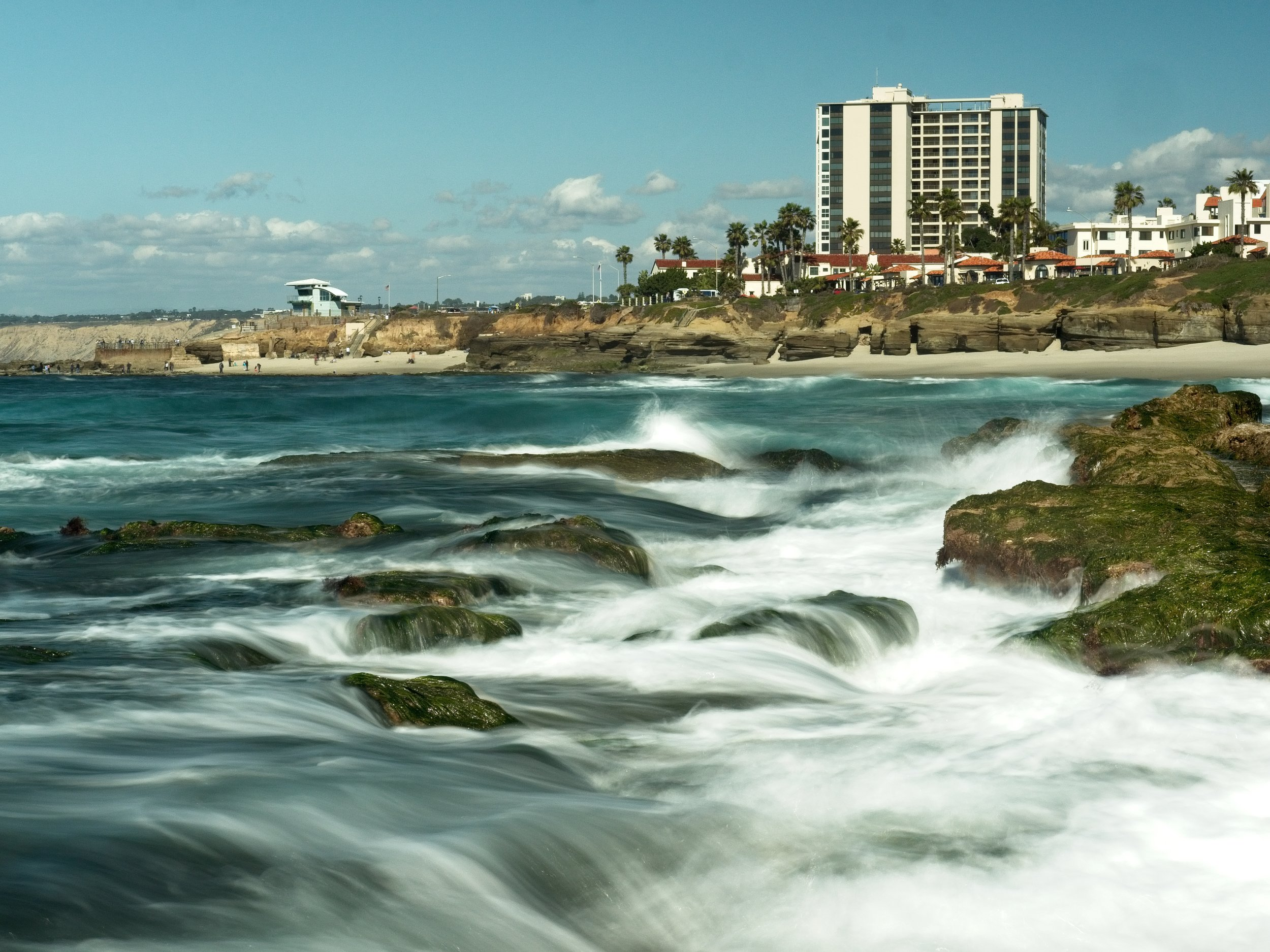 The waves breaking against the reef at the Tide Pool areas of La Jolla