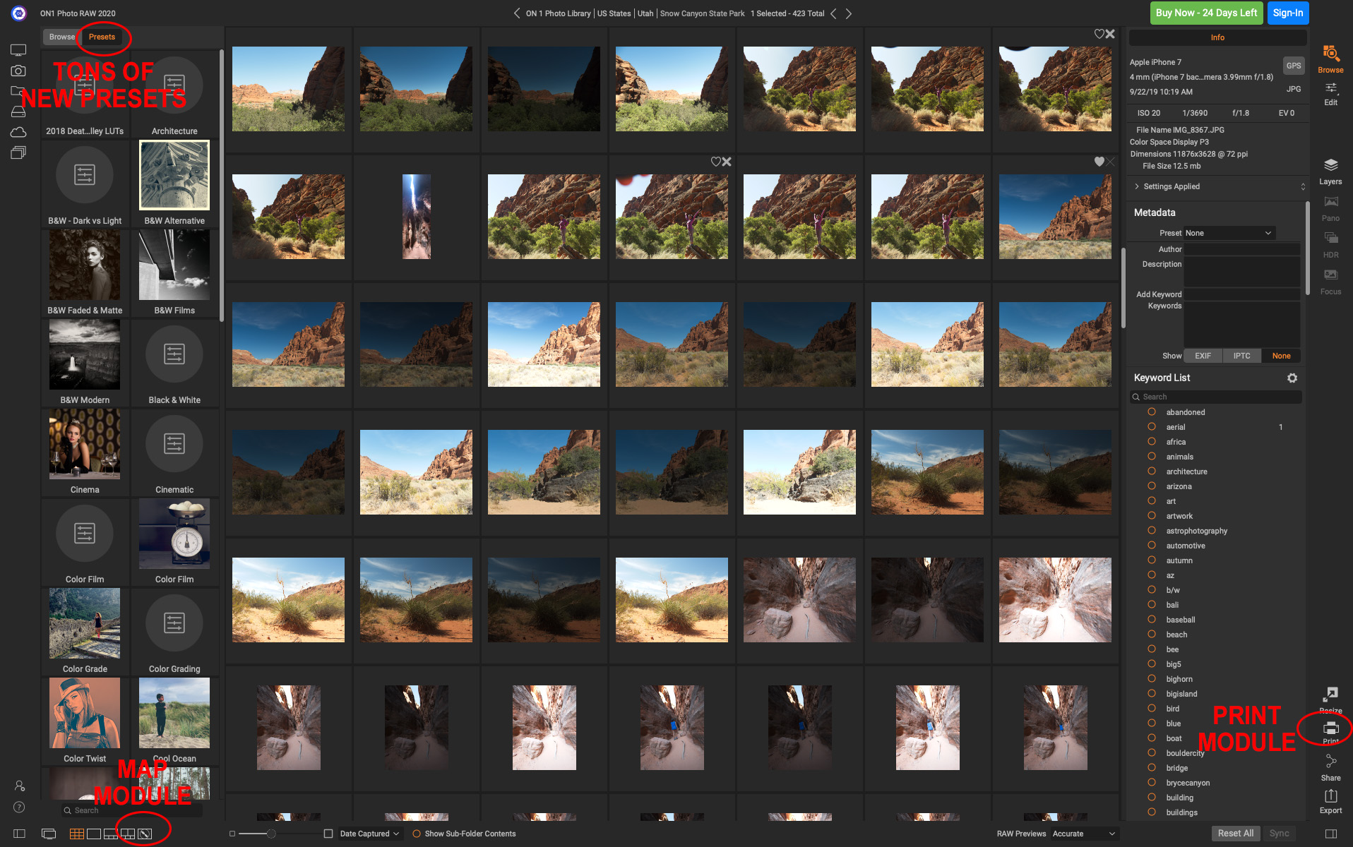 The Browse Module of ON1 Photo Raw 2020 showing some of the new features you'll notice when installing for the first time