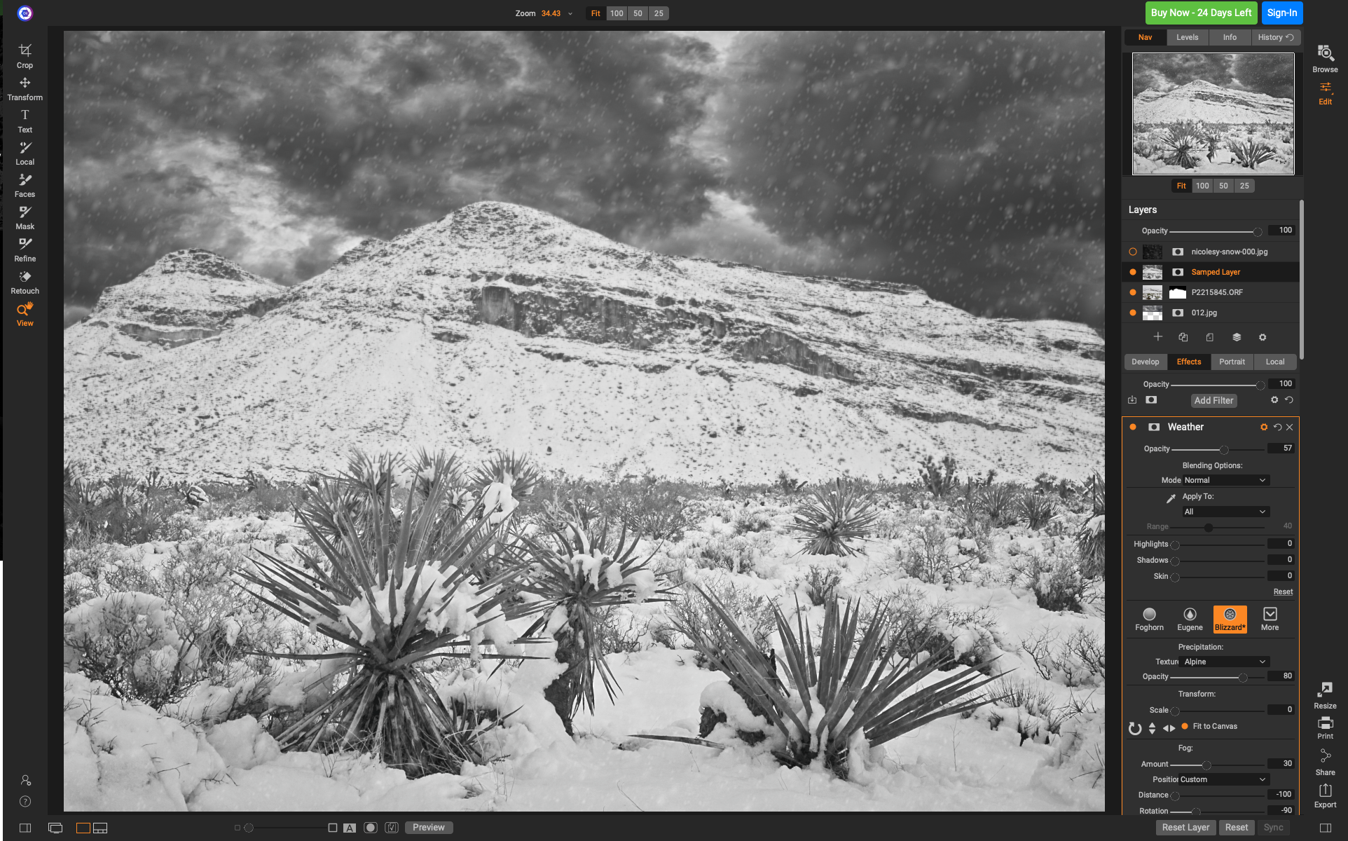 Snow in the desert? Yes, it really did snow this year, but when I was out shooting the flakes had stopped. Fortunately, with the new Weather Effect itit takes just a couple of clicks to add them back in.