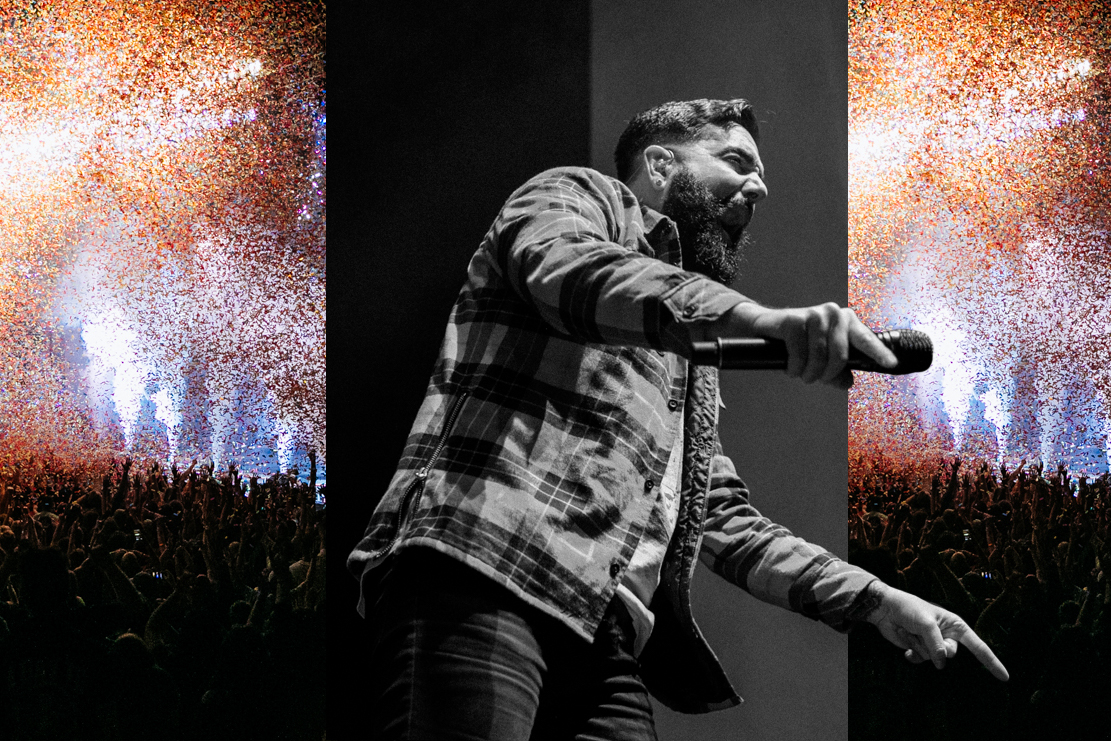 Jeremy McKinnon of A Day To Remember performing during a sold out performance in St. Augustine, FL.