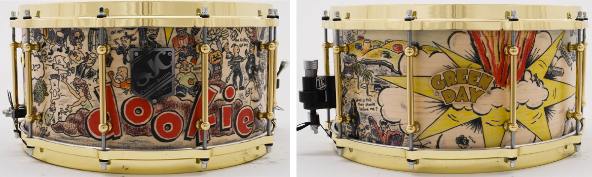 A limited edition Dookie snare was also created, I modified the original artwork to fit a snare drum wrap.