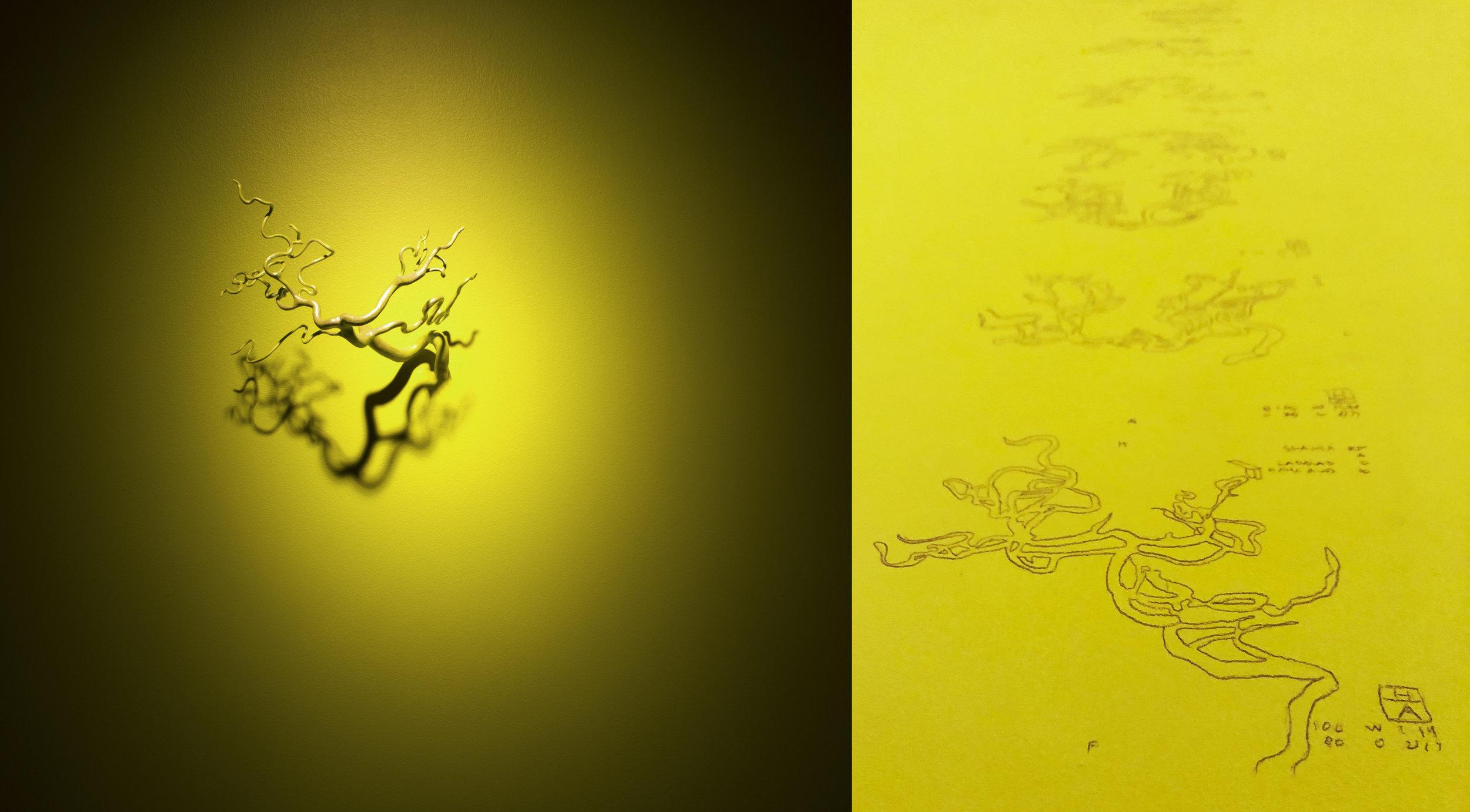 Catatonic Tomography Cycle  (detail). 2018. Resin, paint, iridescent medium, graphite.