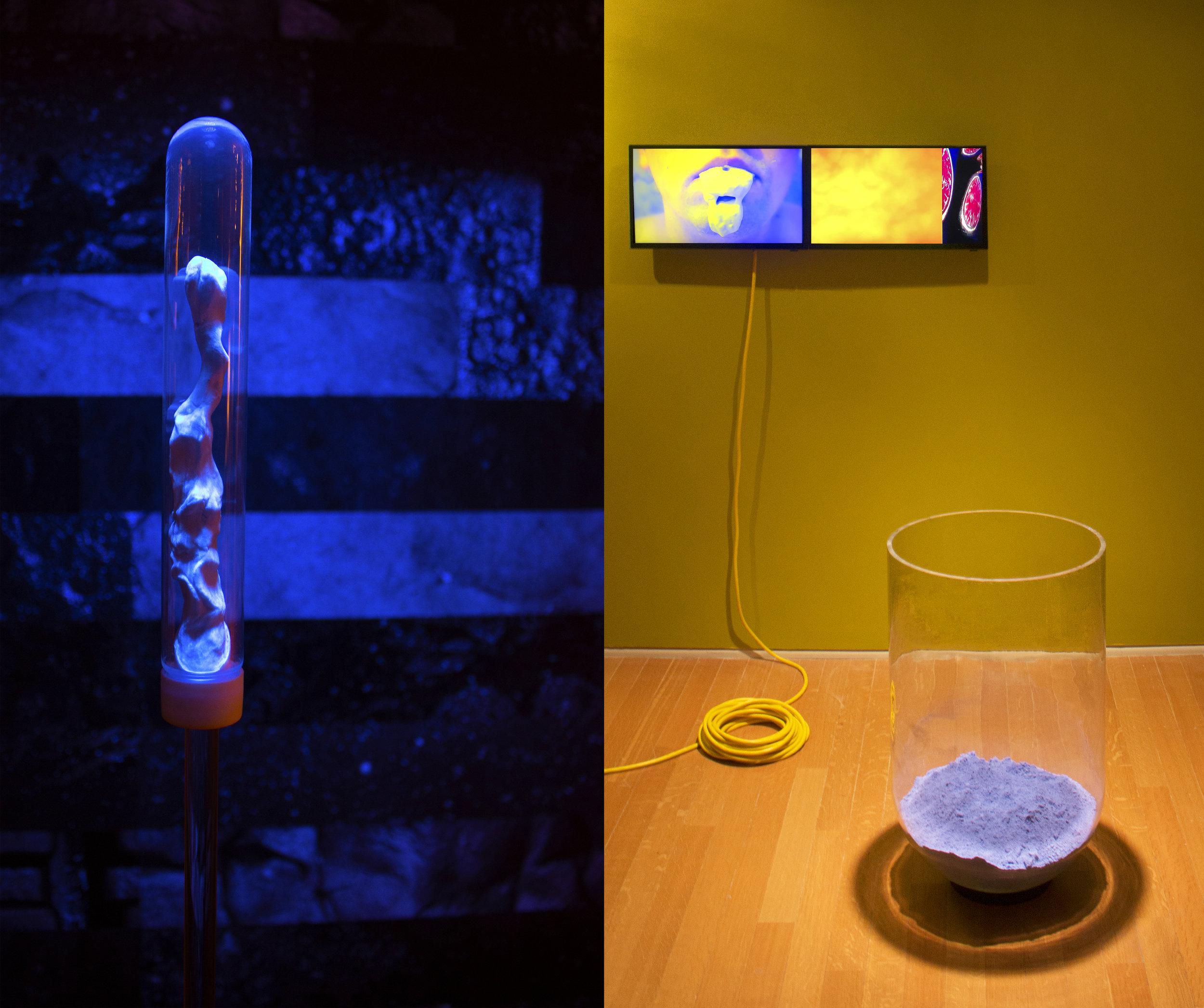 Catatonic Tomography Cycle  (detail). 2018. Acrylic, clay, black light paint, black light, uv prints, adhesive, paint, extension cord, monitor, glass, chalk, digital video (loop).
