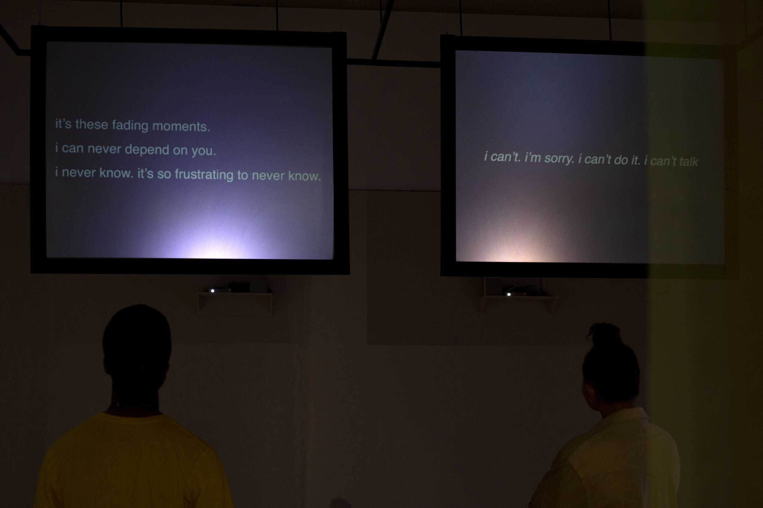 What You Should Know (V ideo installation). 2-channel video projection and stereo sound. 2019