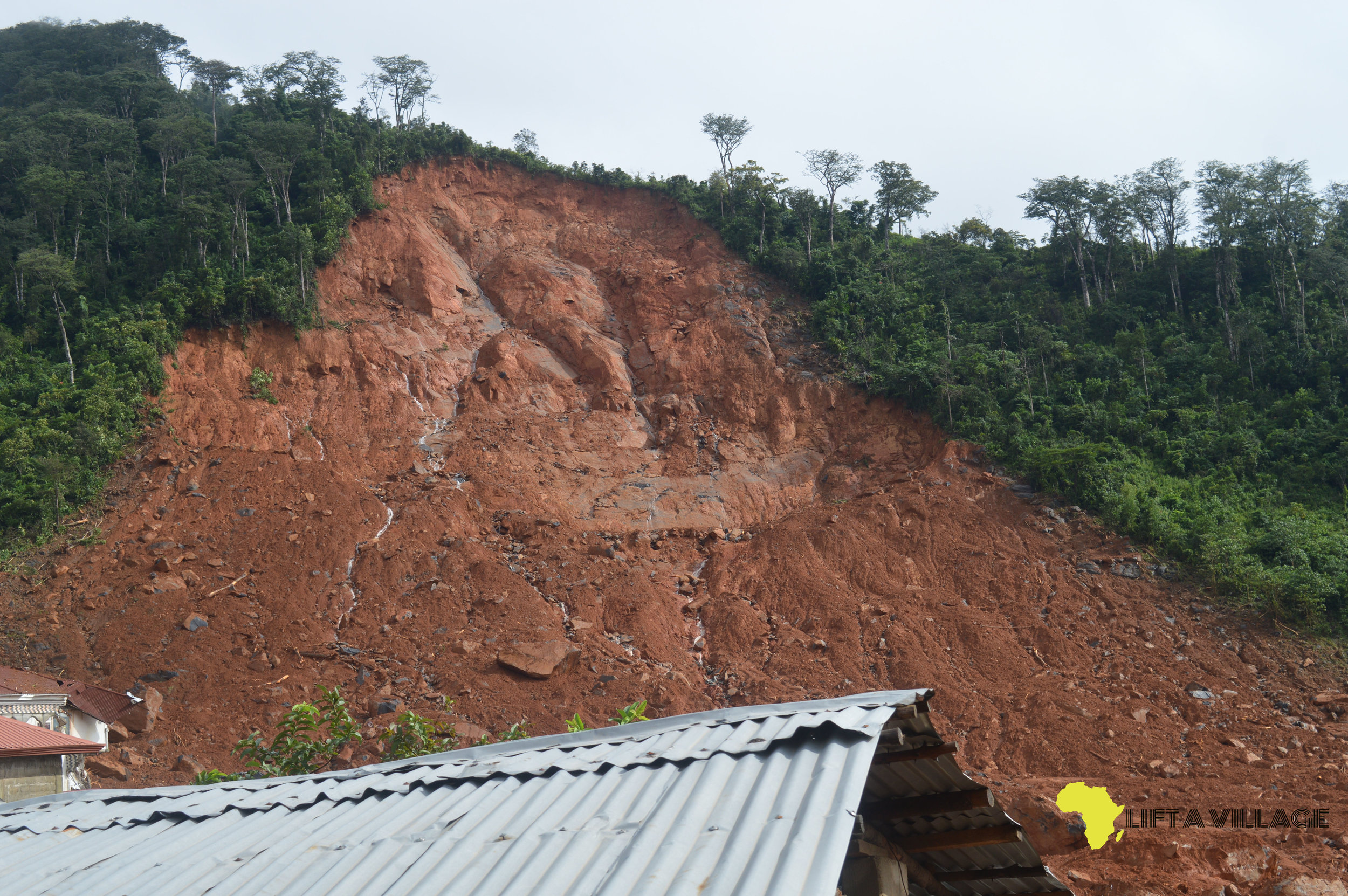 A glance at the mudslide's point of orgirn in Regent, Freetown, Sierra Leone.