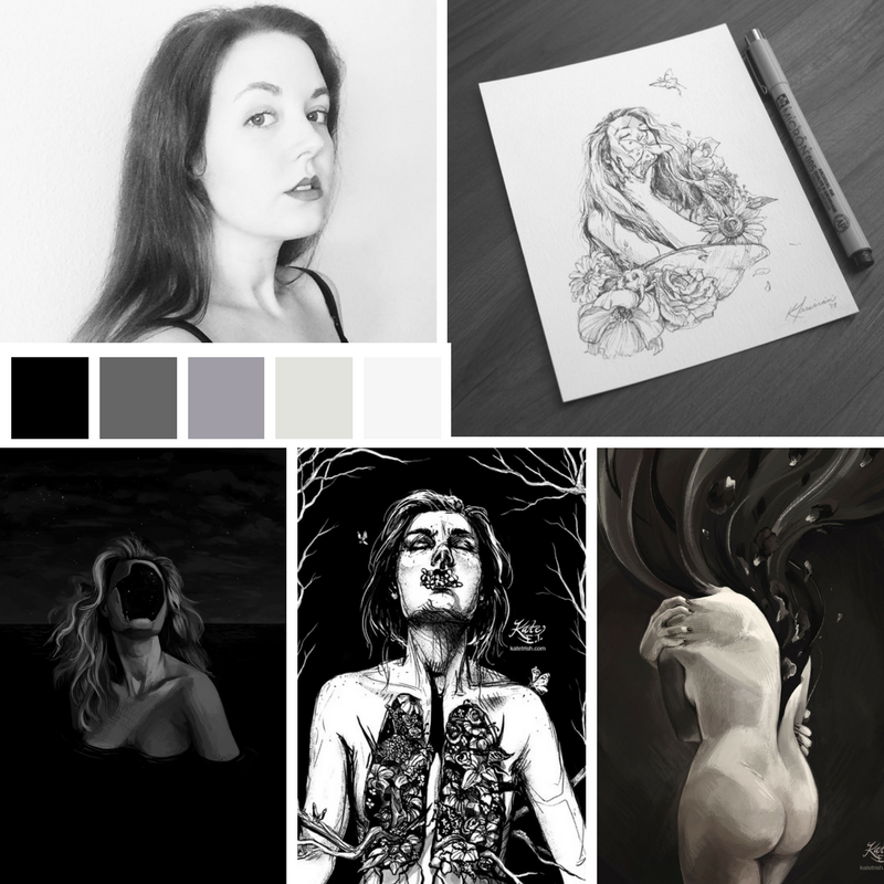 My mood board: How do I present myself? How do I present my work in product photography? Which of my paintings/drawings feel the most 'me'? What colors could I pull from my artwork to use online?