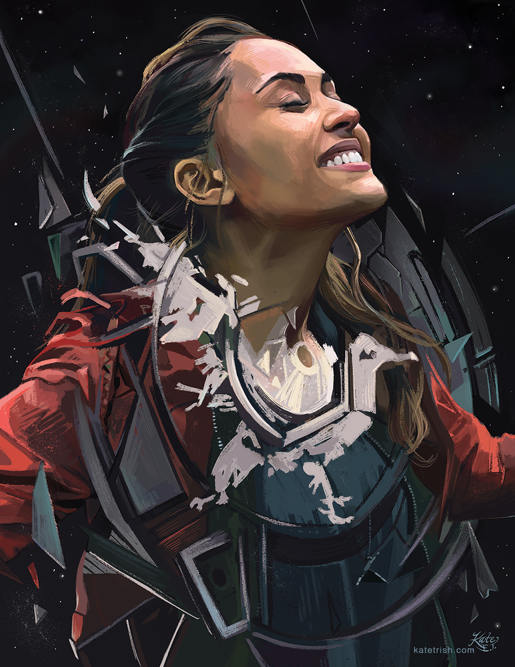 My portrait of Lindsey Morgan as Raven Reyes (The 100), auctioned at Unity Days 2018 to benefit Pancreatic Cancer Action Network