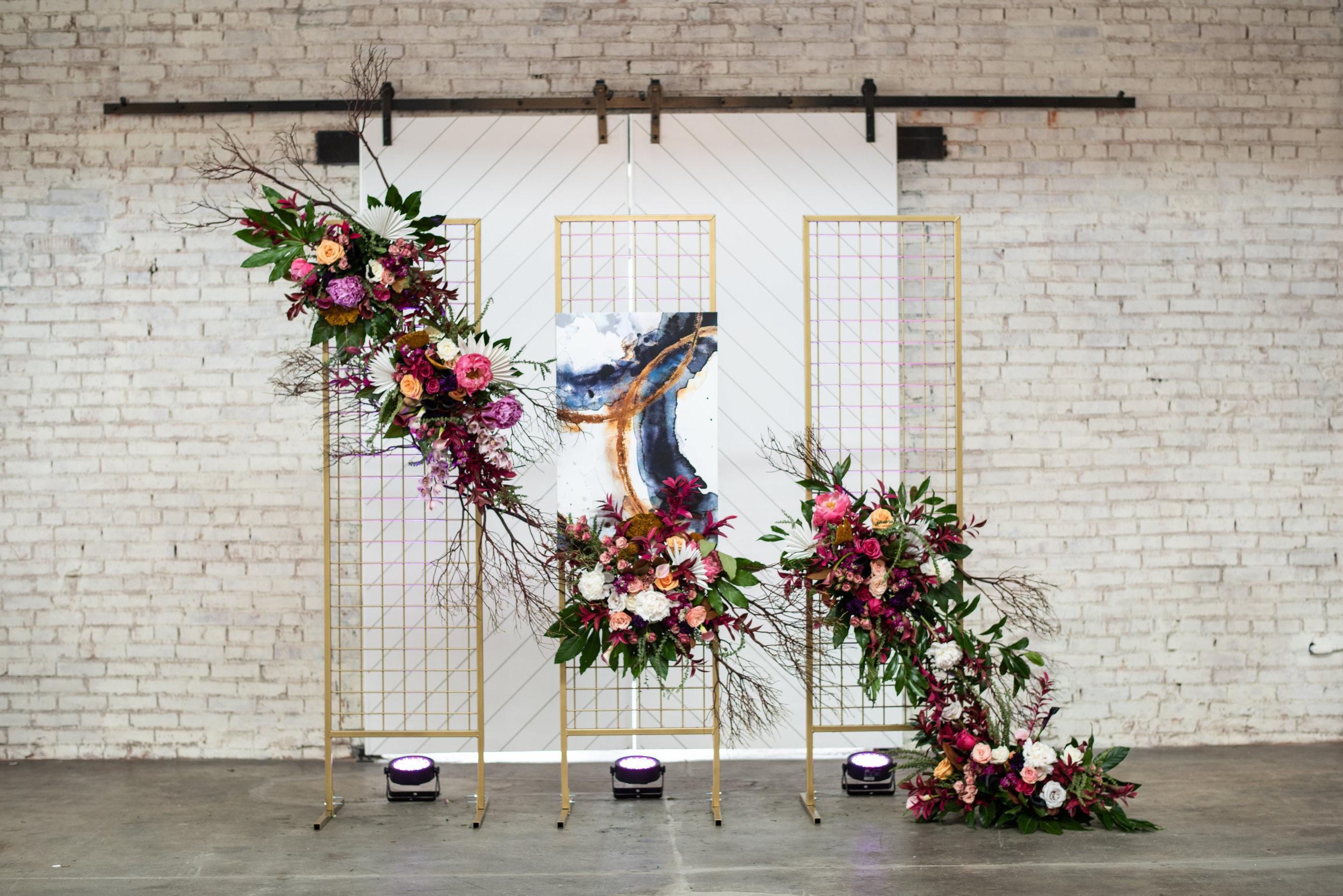 KC wedding florist flower wall grid wall