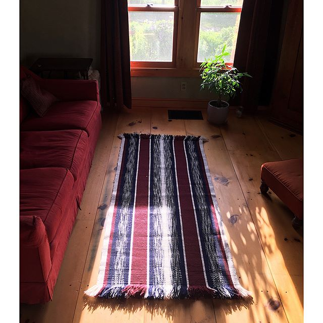 Fruits of my labor from Week 1 of Work Study at the Marshfield School of Weaving! A hand-dyed warp-faced rug.