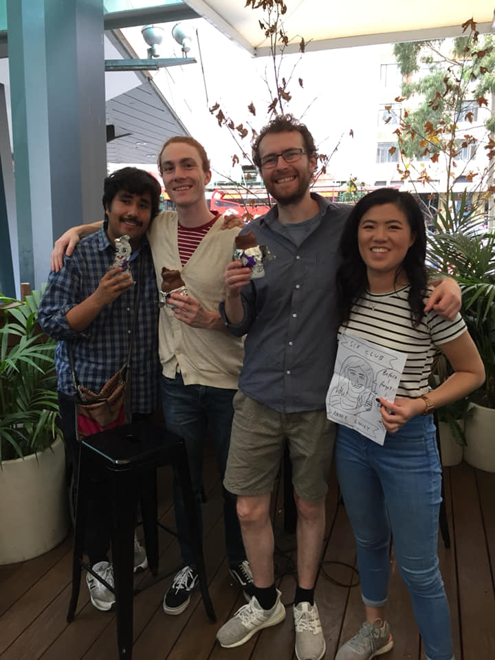 Comedians Matthew Vasquez, Josh Webb, Murphy McLachlan and Annie Louey