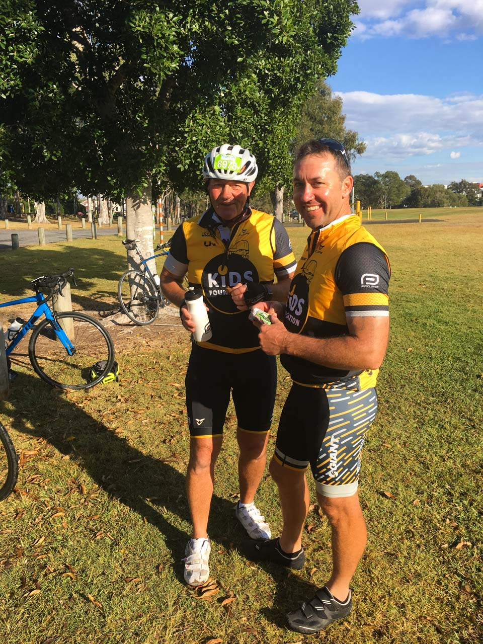 Scott Diete (right) pictured with another rider, Don McKill at a rest stop.