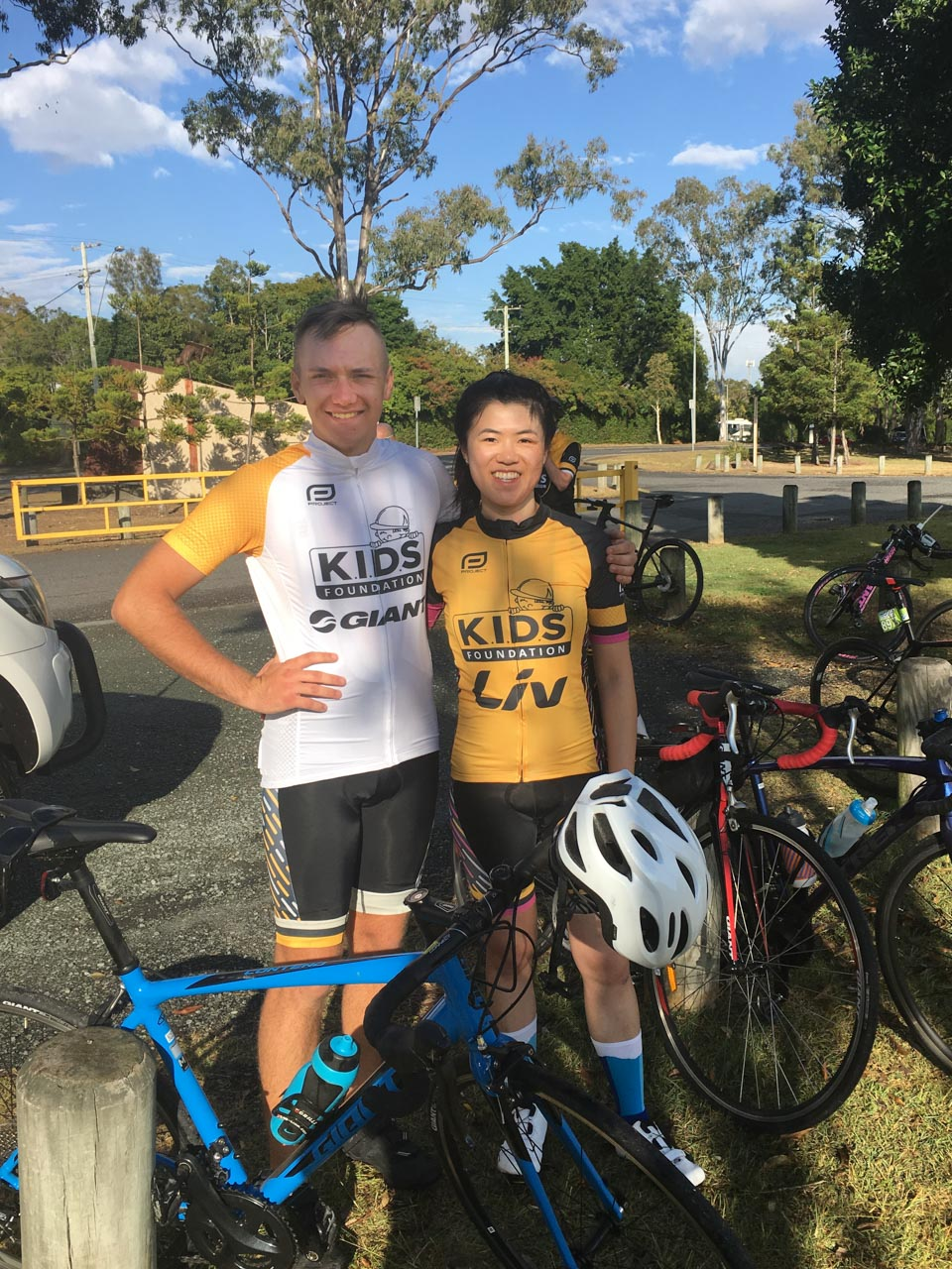 Declan Diete pictured with Annie Louey at a rest stop.
