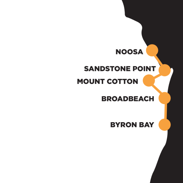 The route from Byron Bay to Noosa over four days
