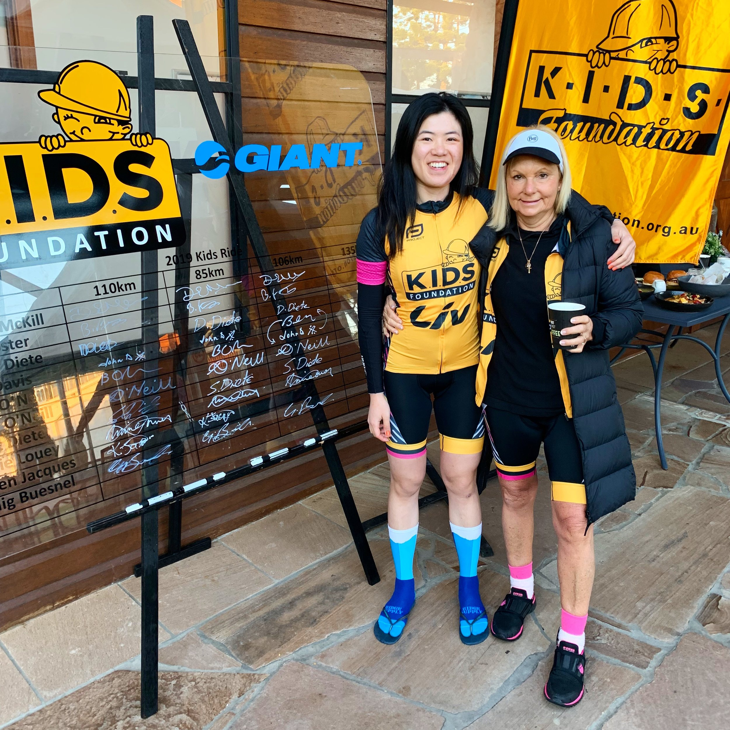 Annie pictured with KIDS Foundation CEO, Susie O'Neill after signing on for Day 3 of the ride