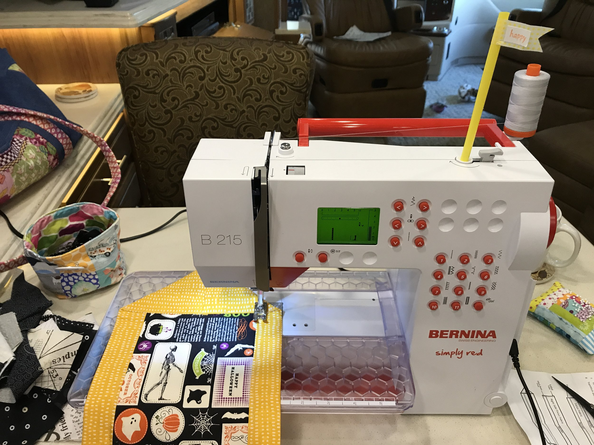 I brought the Bernina red machine to keep for sewing in the RV.