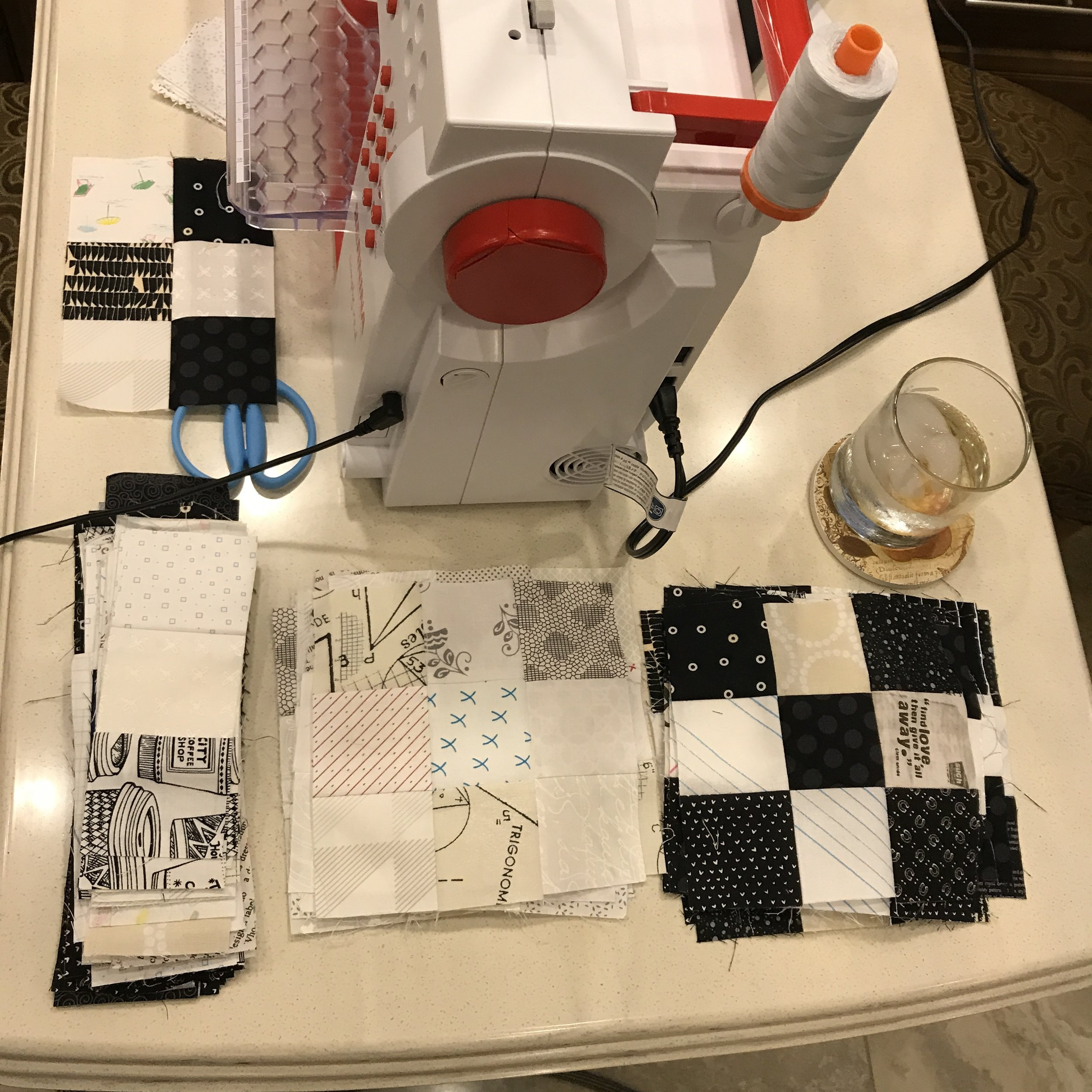 Sewing on my little Bernina when camping...