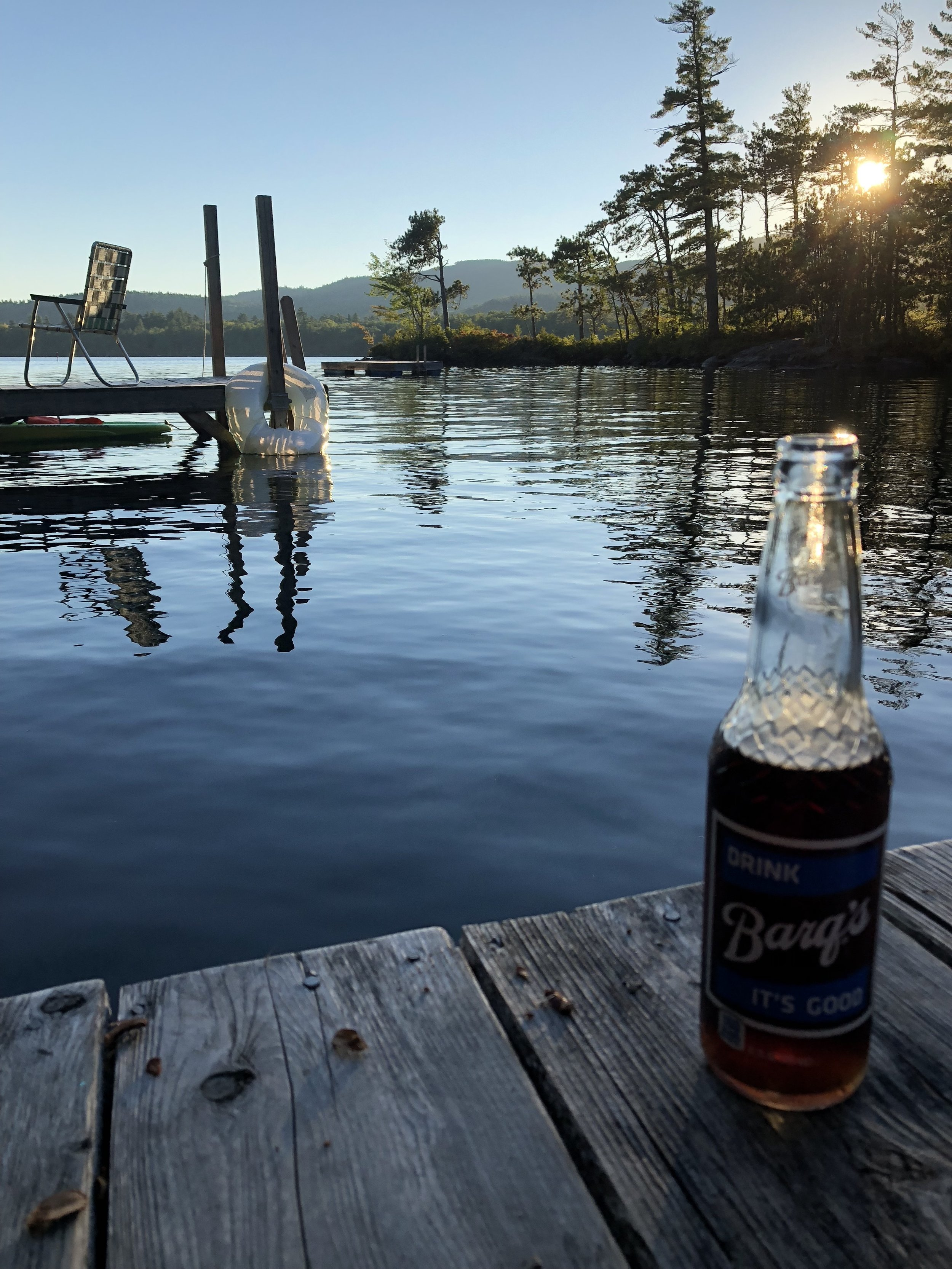 Our private dock…and I discovered Barq's blue label bottles at the country store.