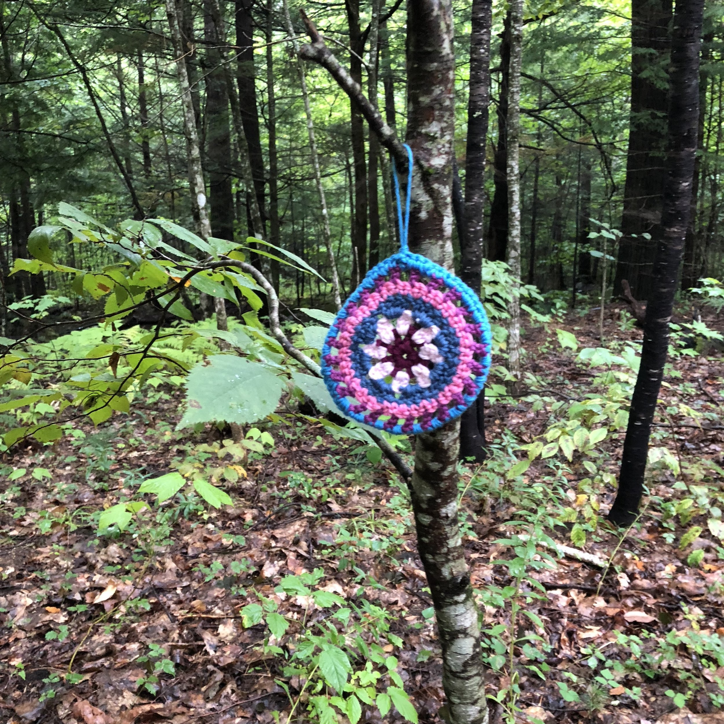 Crocheted circles and squares marked our route to the dining hall.