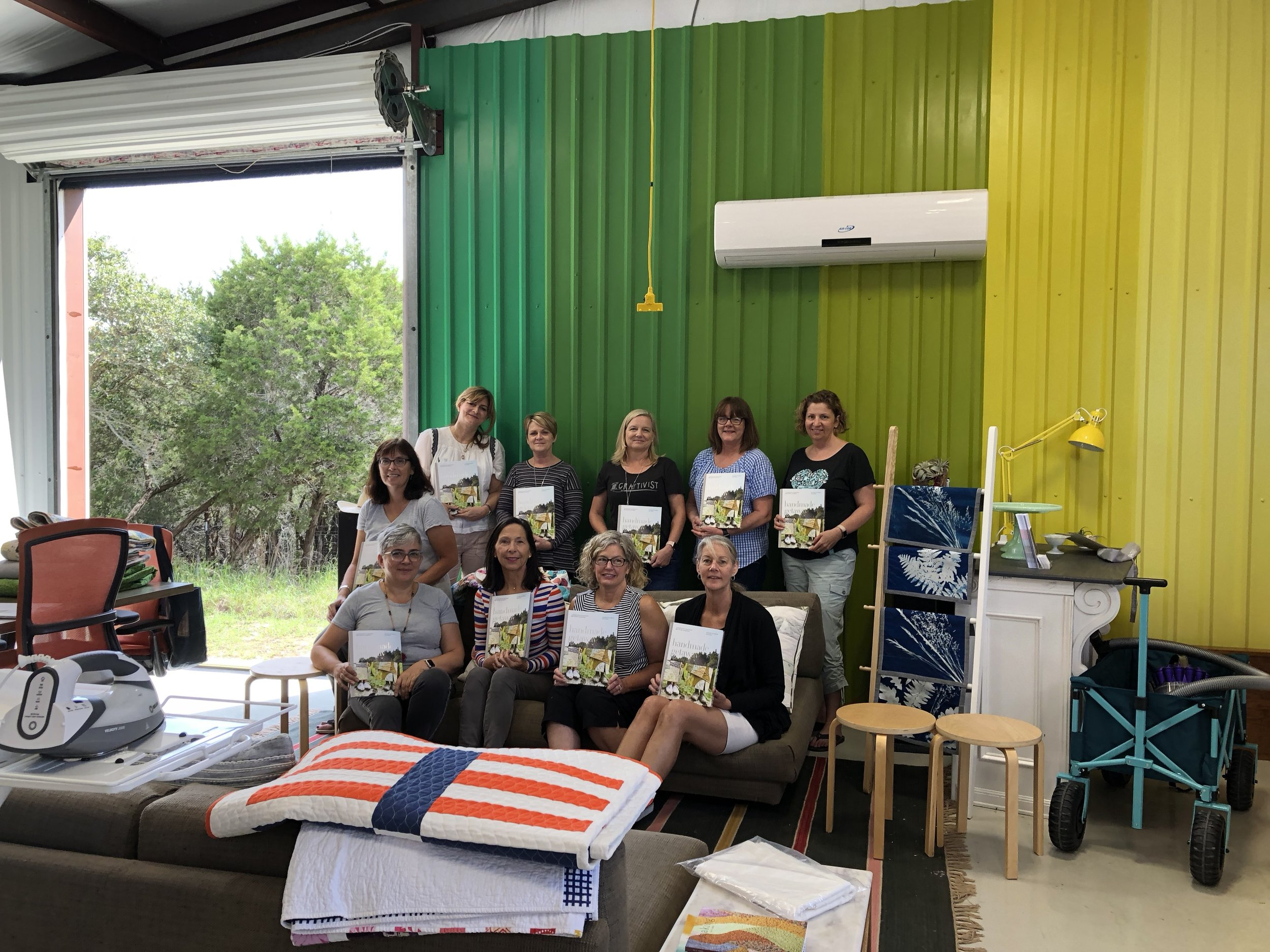 Posing with our books.  Pia ,  Mary ,  me ,  Michele ,  Doris ,  Ede ,  Caroline , Anne,  Stephanie , and  Pam