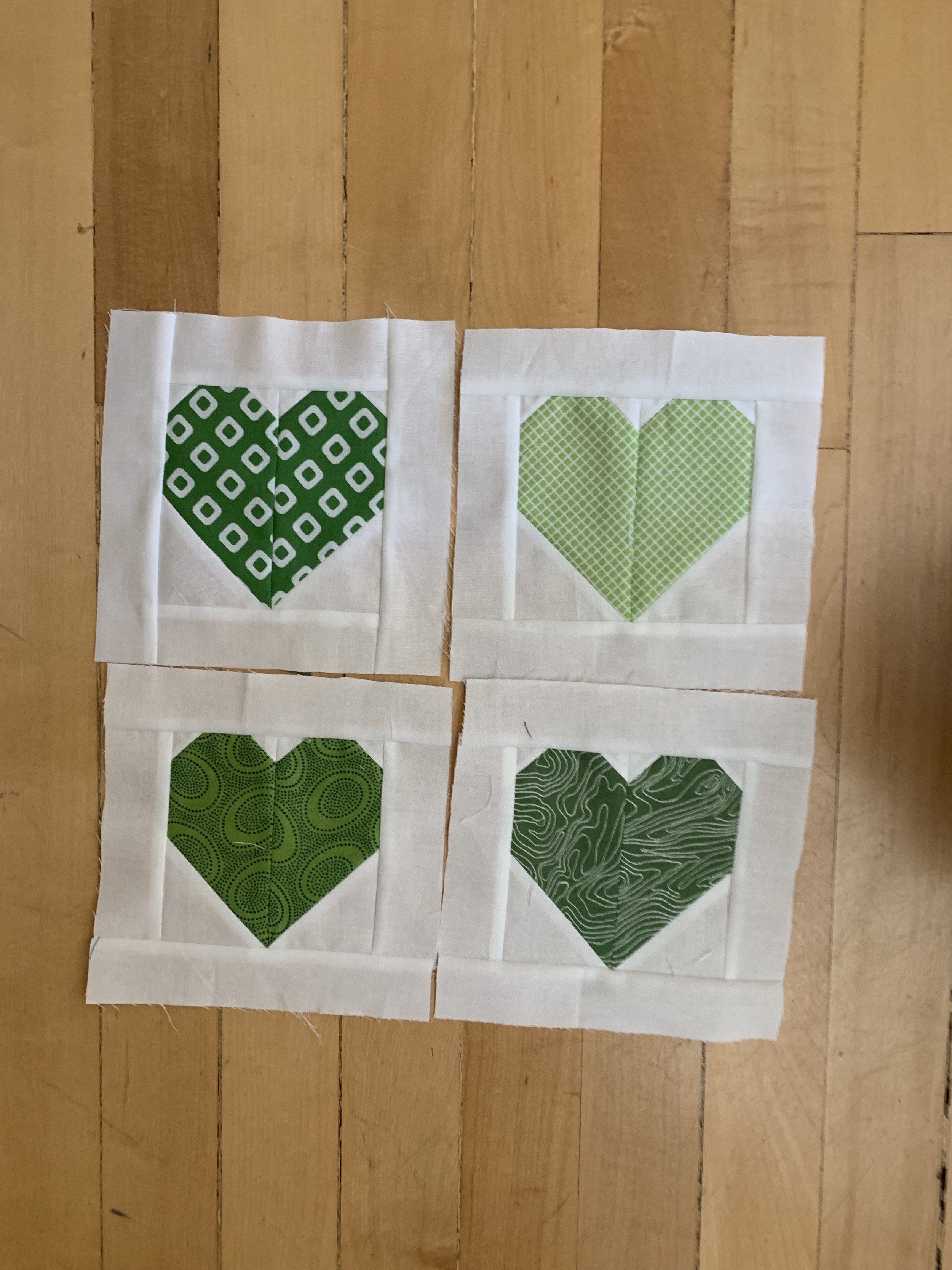 Healing hearts in green and white