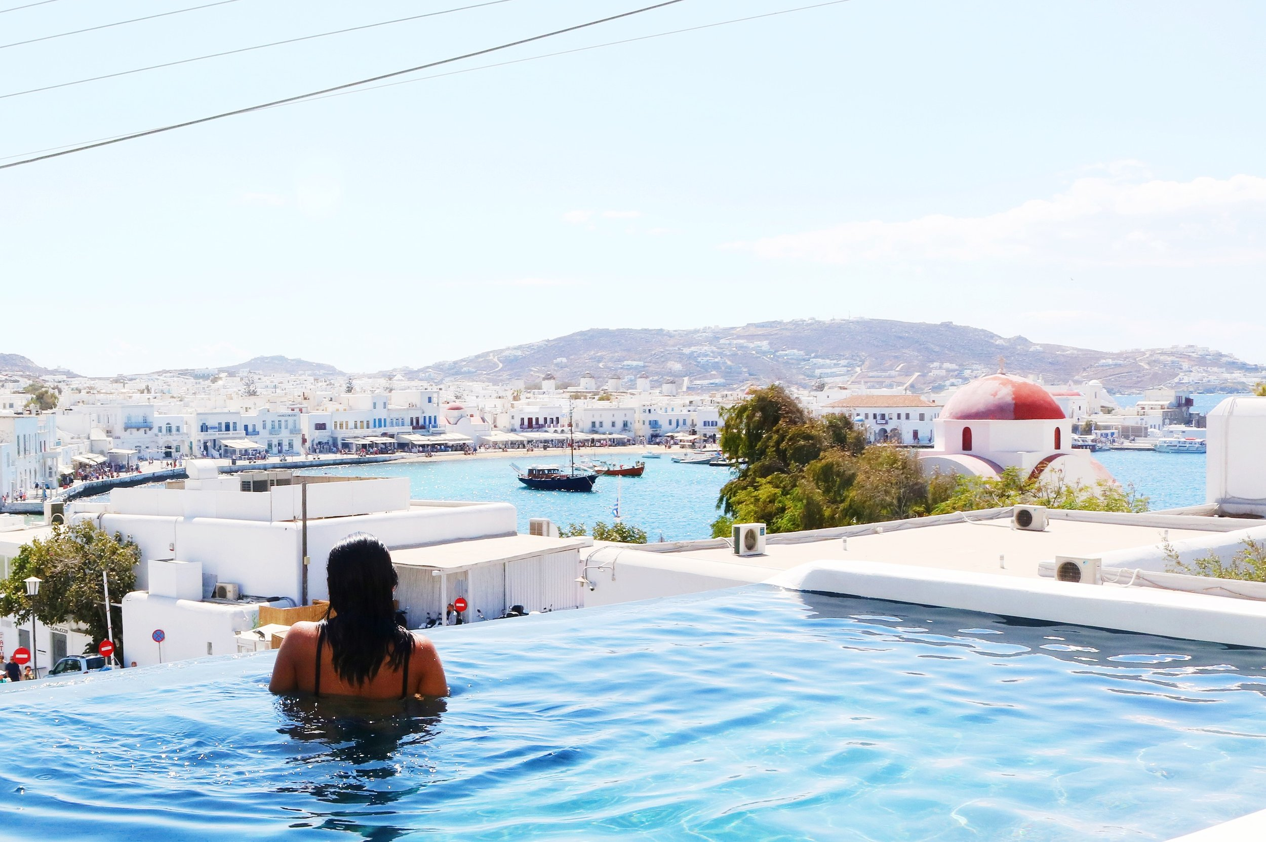 The poolside view at MyCocoon Hostel Mykonos