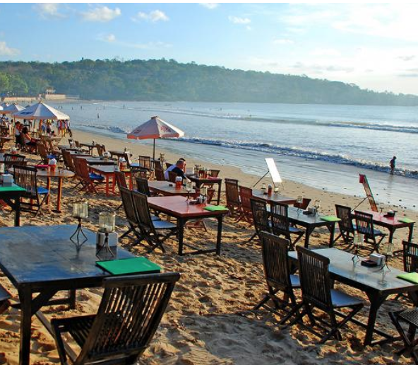 Jimbaran beach - Jimbaran beach is on Bali's southwestern coast. The beach is part of the narrow isthmus connecting the Bali mainland and the Bukit Peninsula and is known for its delicious selection of seafood.
