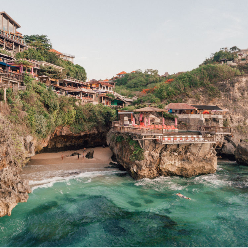 Suluban Beach - Hidden Cave Beach near Uluwatu. Suluban Beach is one of Bali's most unique coasts, concealed by natural limestone formations and accessed via steps and log ramps through narrow gaps in the rock.... Nicknamed 'Blue Point'