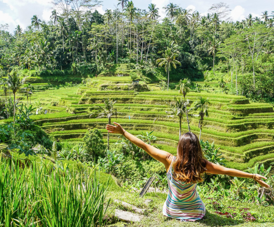 Tegallalang - If you've seen any photos of Bali online you will most likely recognise the shot below of lush green terraced rice fields. ... This is the iconic Tegalalang rice terrace, one of the most visited tourist attractions in Ubud.