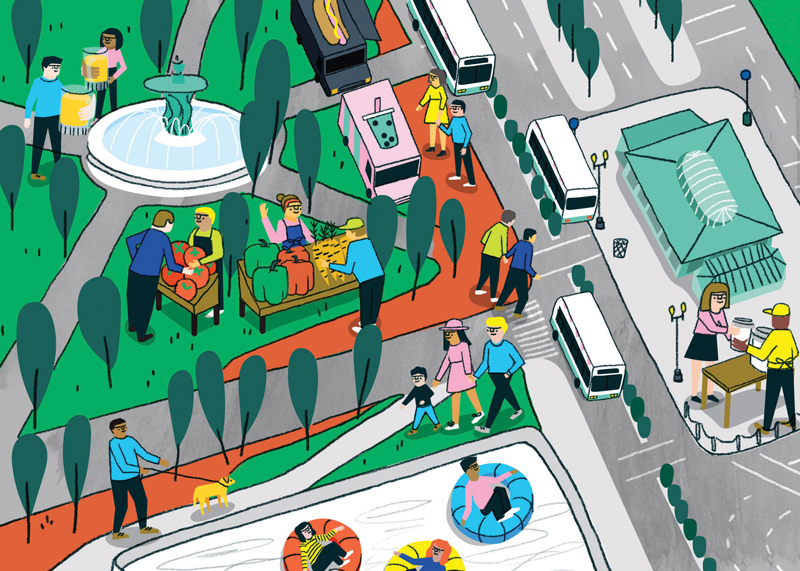 An illustrated map of the newly redesigned, Kennedy Plaza, for  Rhode Island Monthly .