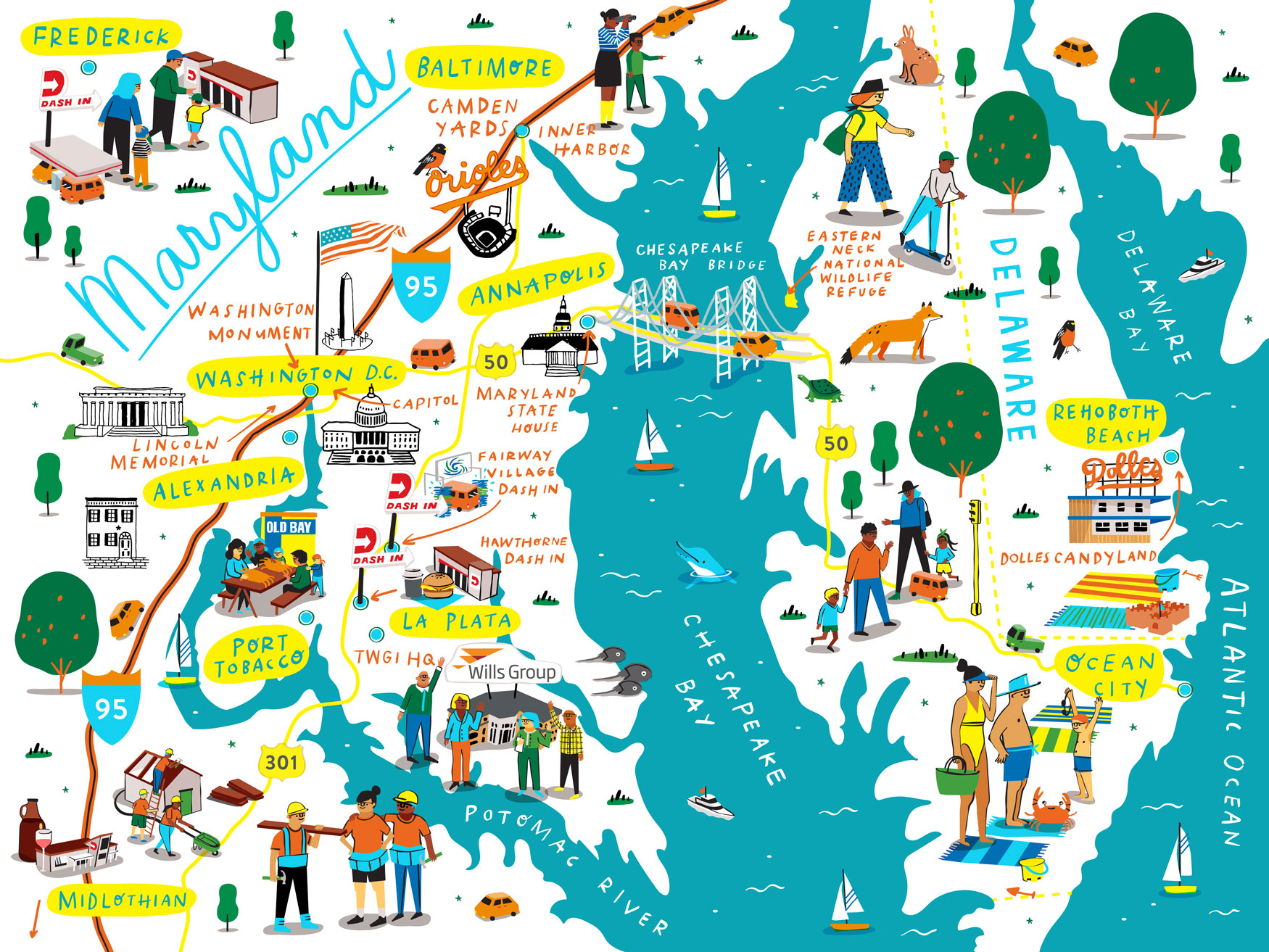 Illustrated map for  The Wills Group , that highlights their Maryland- based, convenience store chain,  Dash In .
