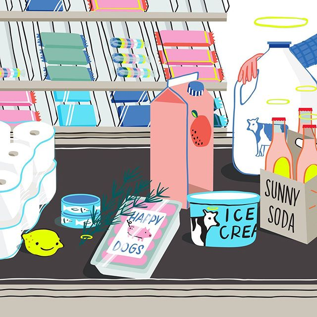Anyone else feel like they're always at the grocery store? 🙋🏼♀️ me! Cute food packaging always catches my eye. And while speaking of food packaging and labels, I did this piece for @NPR Life Kit podcast. It goes in depth about food labels, what they all mean (non gmo, free range, Cage free, etc)  and which are worth dropping the $ on. . . . . #illustration #npr #drawing #foodillustration #nongmo #groceryshopping