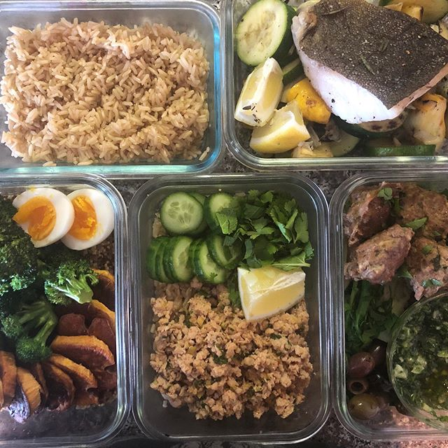 Meal prep for the week. Protein Bowl. Thai Chicken Salad, Lamb Meatballs with Chimichurri and Roasted Veggies, and Pan seared cod with roasted summer squash and grilled artichokes. #mealprep #bittenpeach #queerchef #catering #privatechef #sustainable #organic